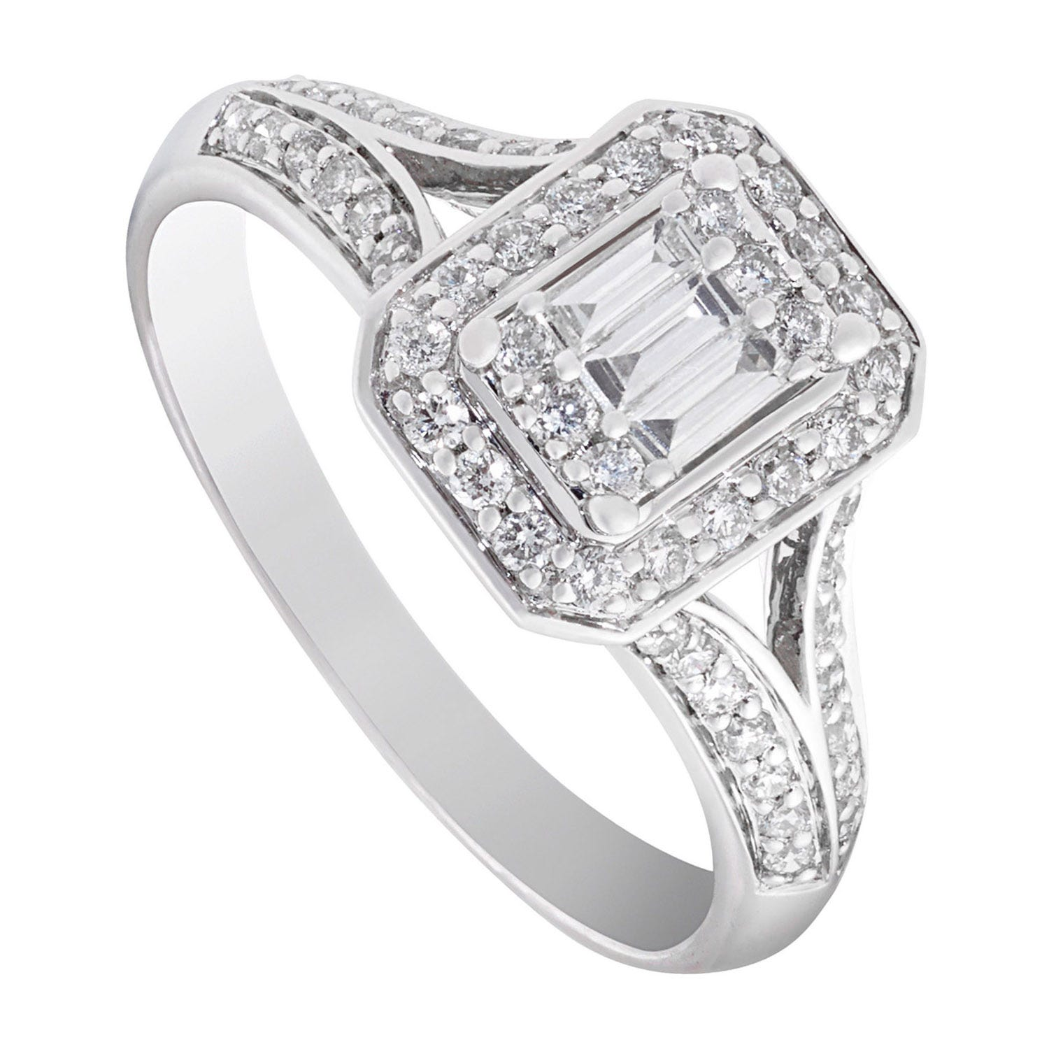 9ct white gold 0.50 carat diamond split shoulder ring