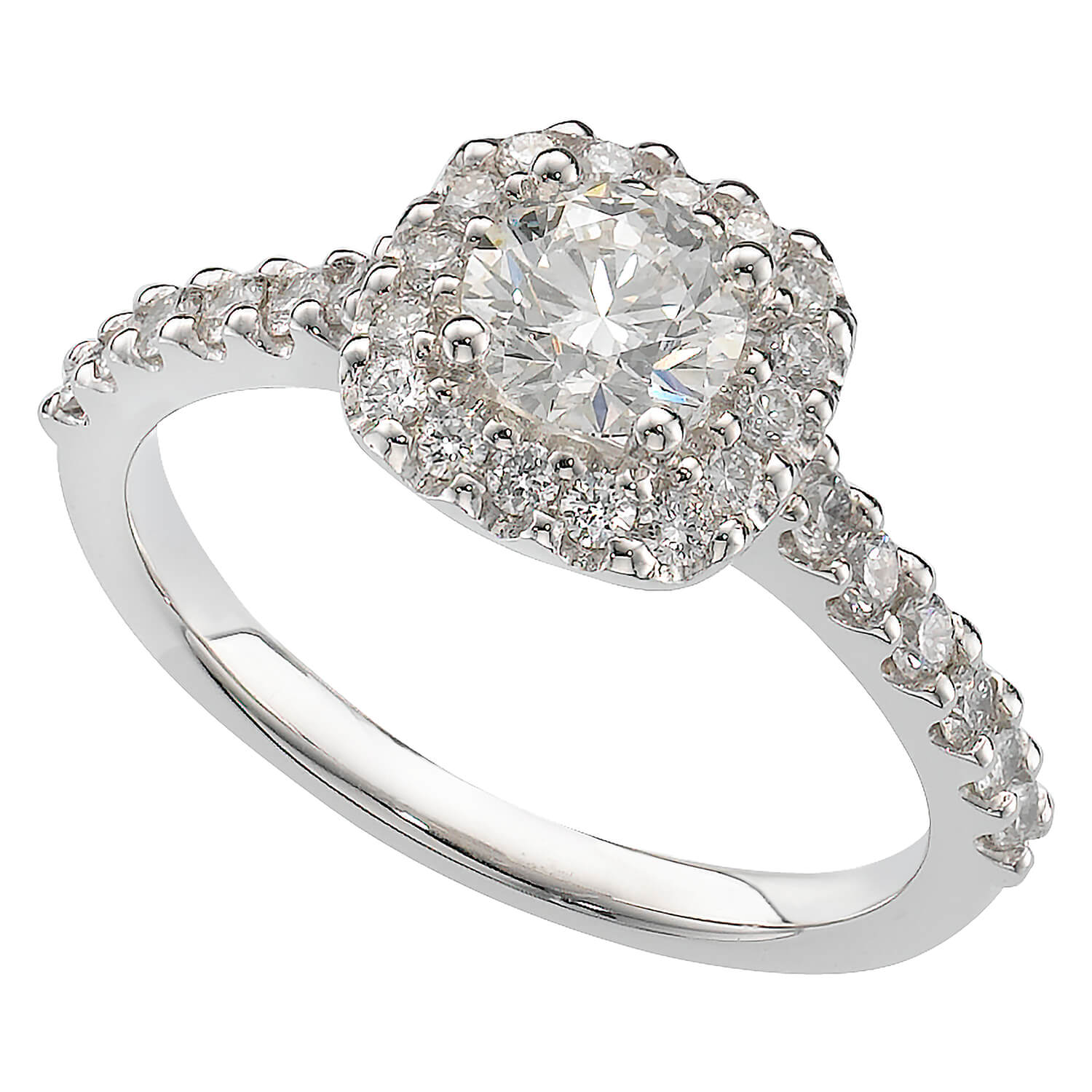 Brilliant Fire platinum 1.06 carat diamond cluster ring