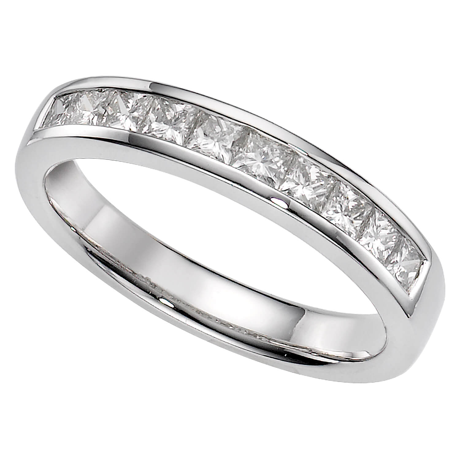 Platinum 0.50 carat princess cut diamond eternity ring