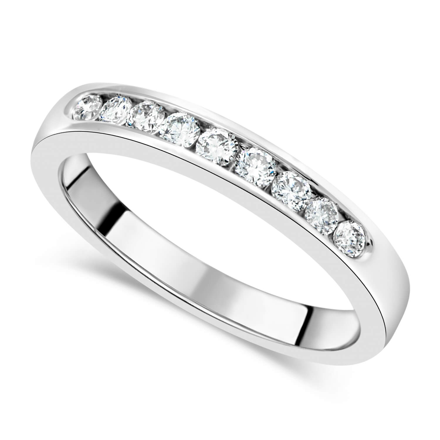 18ct white gold 0.25 carat diamond channel set eternity ring