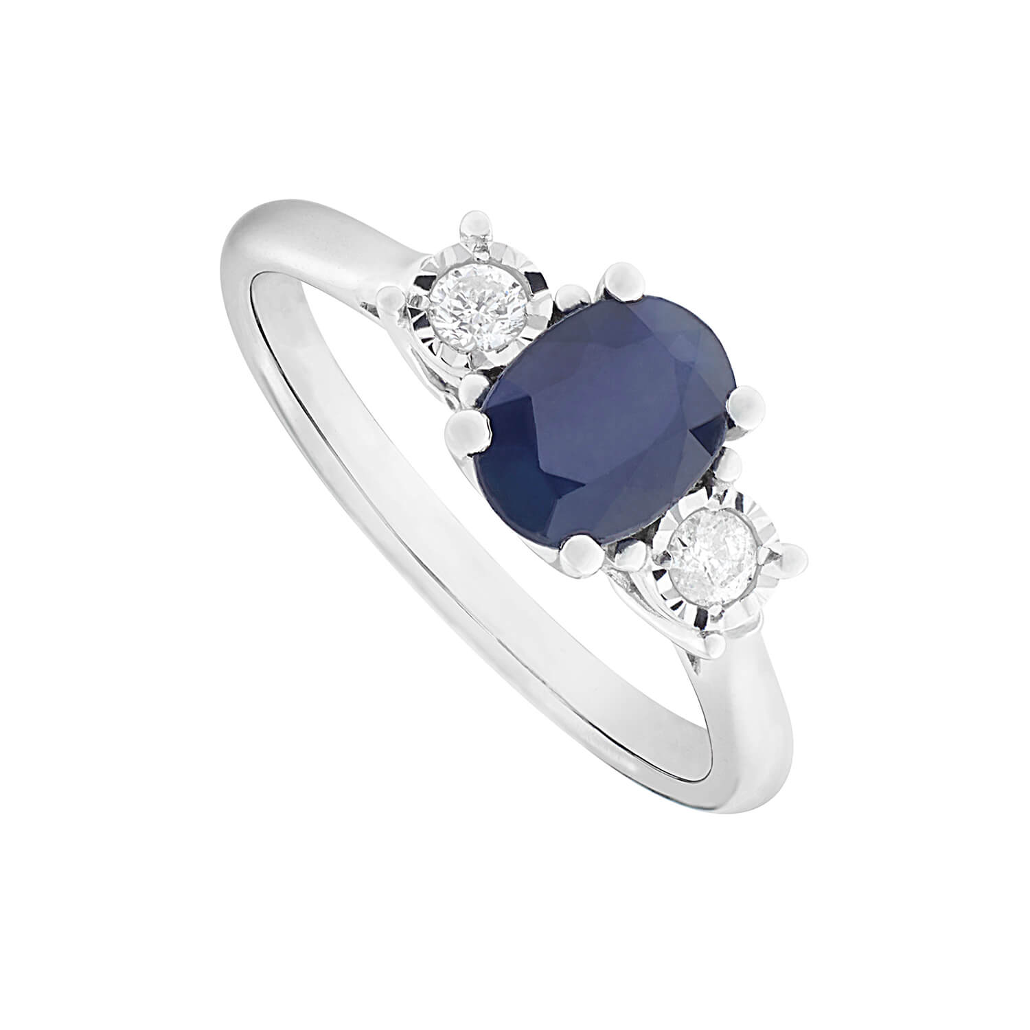 9ct white gold oval sapphire and diamond three stone ring