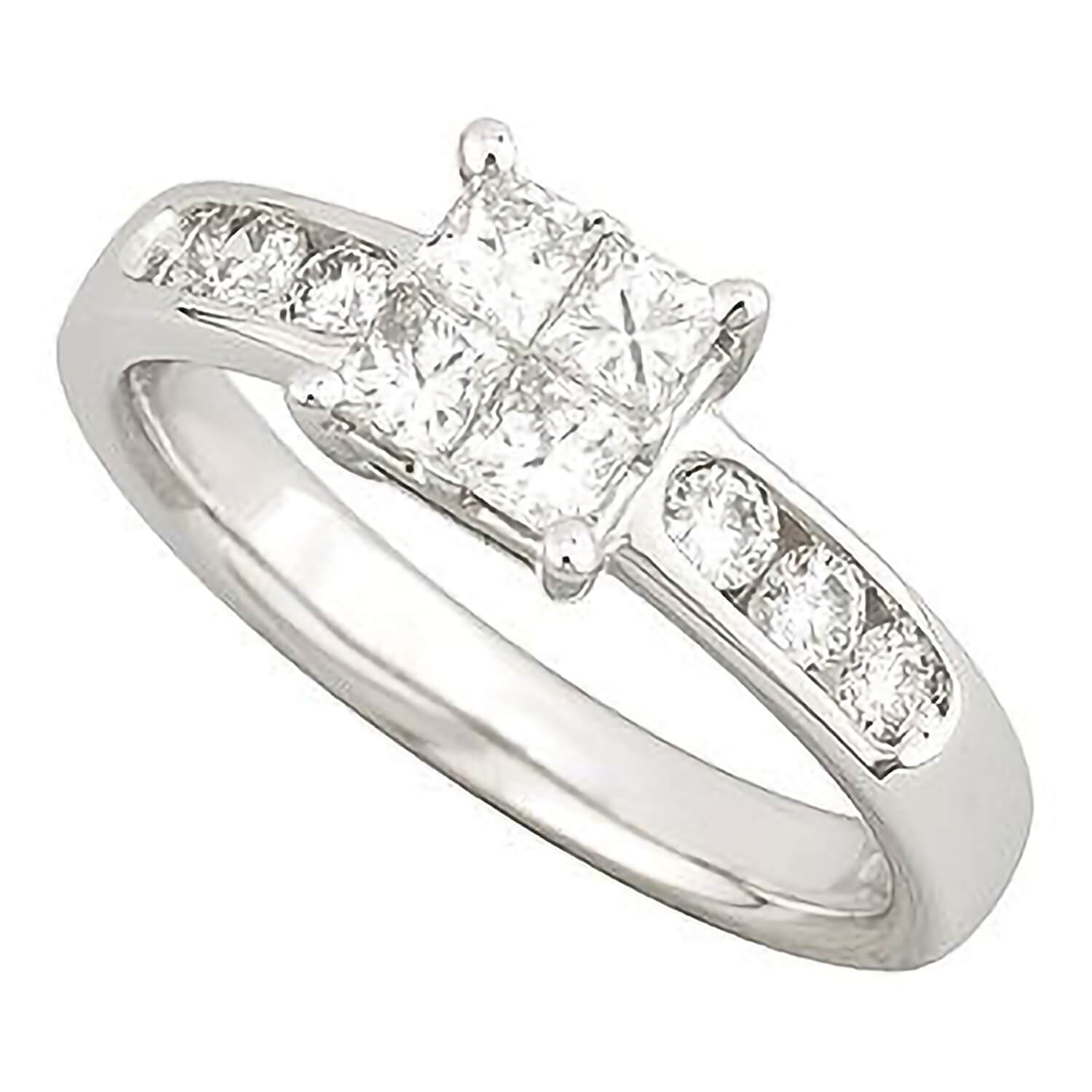 18ct white gold 0.70 carat princess cut diamond ring