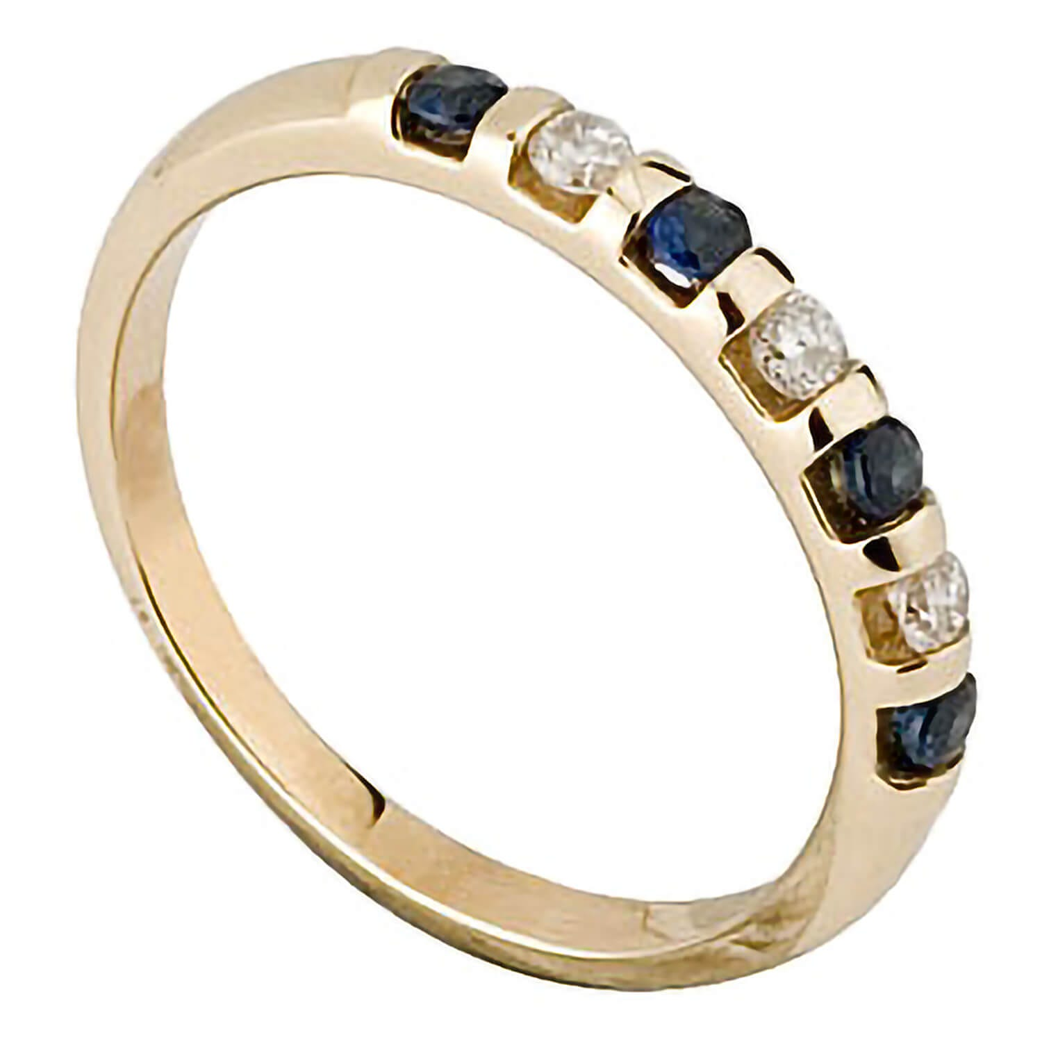 9ct gold sapphire and 0.12 carat diamond ring