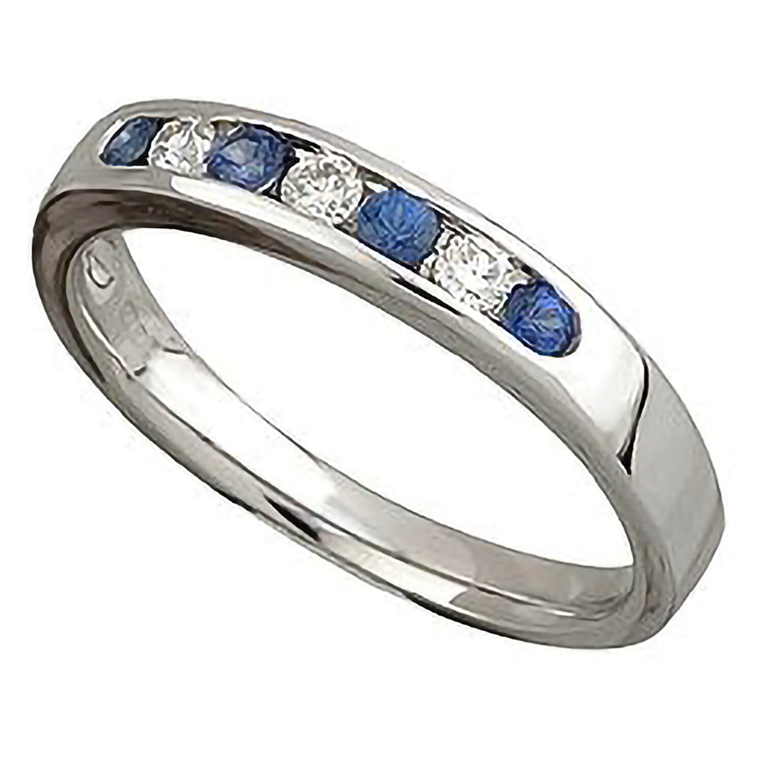 9ct white gold sapphire and diamond seven stone ring