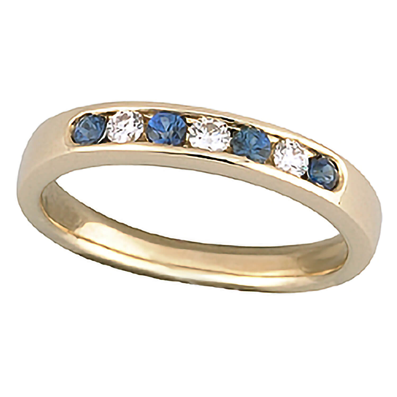 9ct gold sapphire and diamond seven stone ring