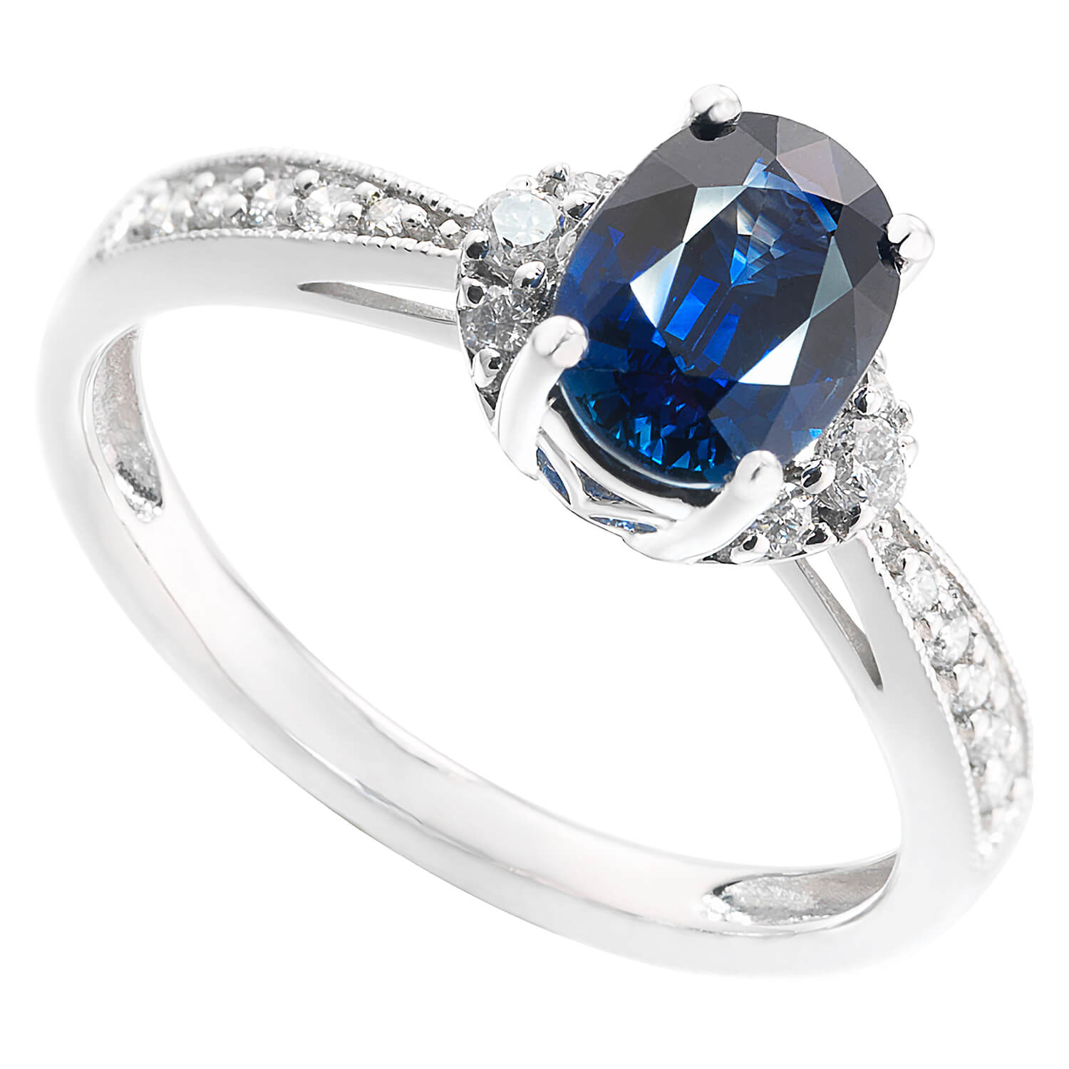 18ct White Gold 0.15ct Diamond & Oval Sapphire Ring