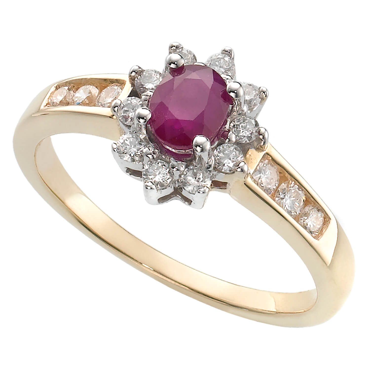 9ct two colour gold ruby and 0.33 carat diamond cluster ring