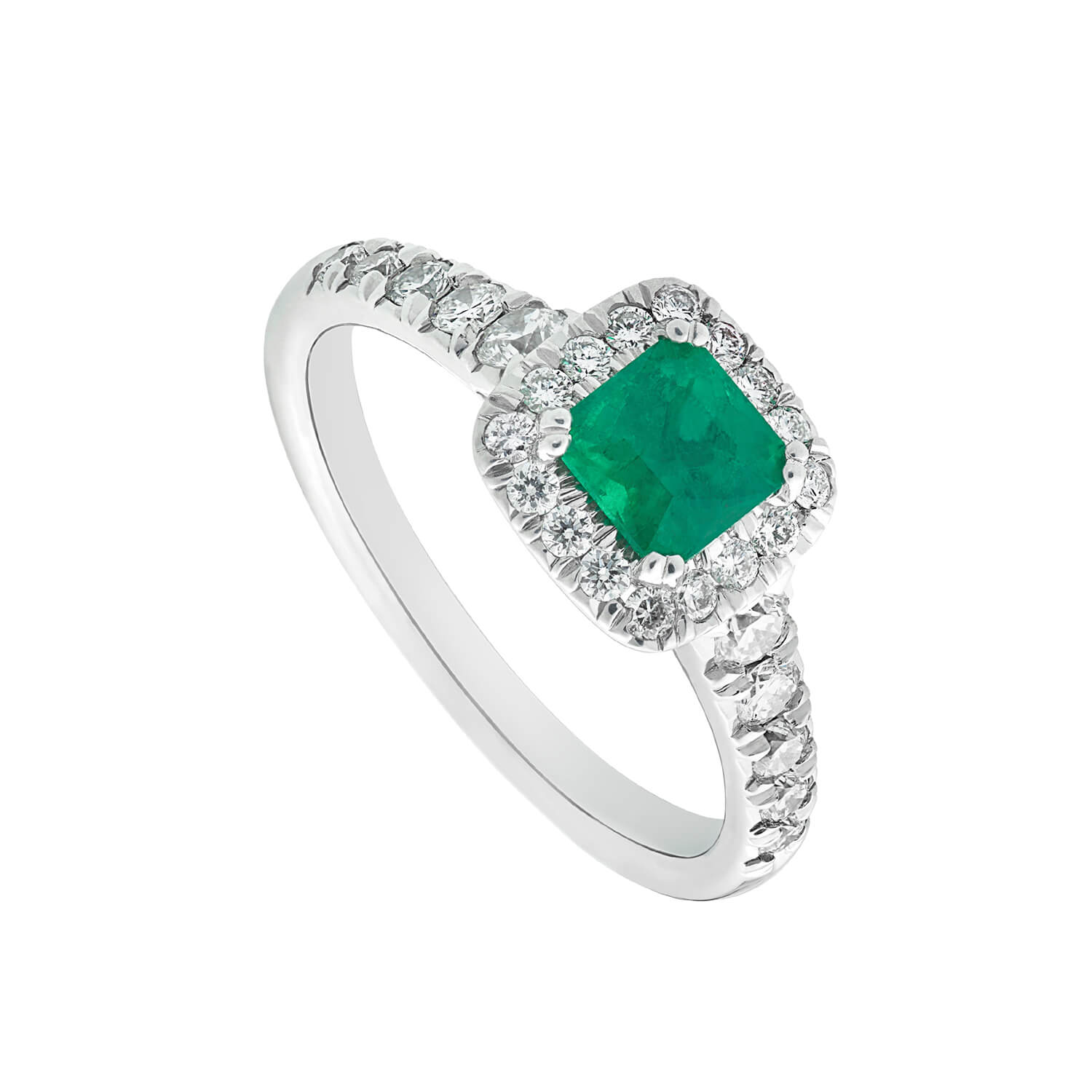 18ct white gold emerald and 0.50 carat diamond cluster ring