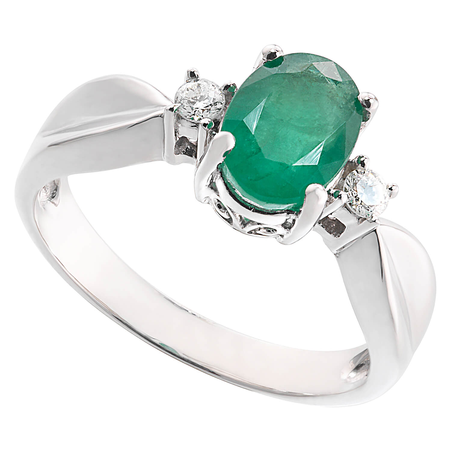 9ct white gold emerald and diamond three stone ring