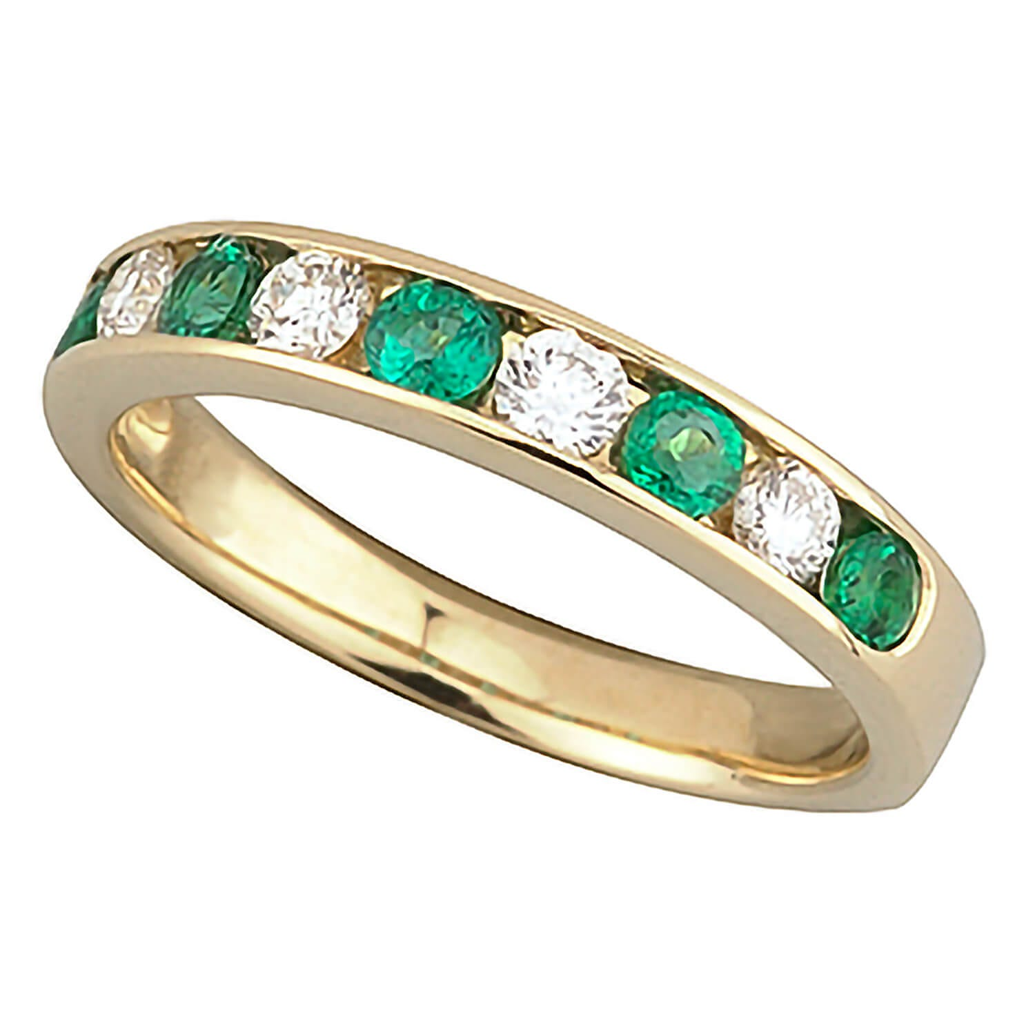 18ct gold emerald and diamond nine stone ring