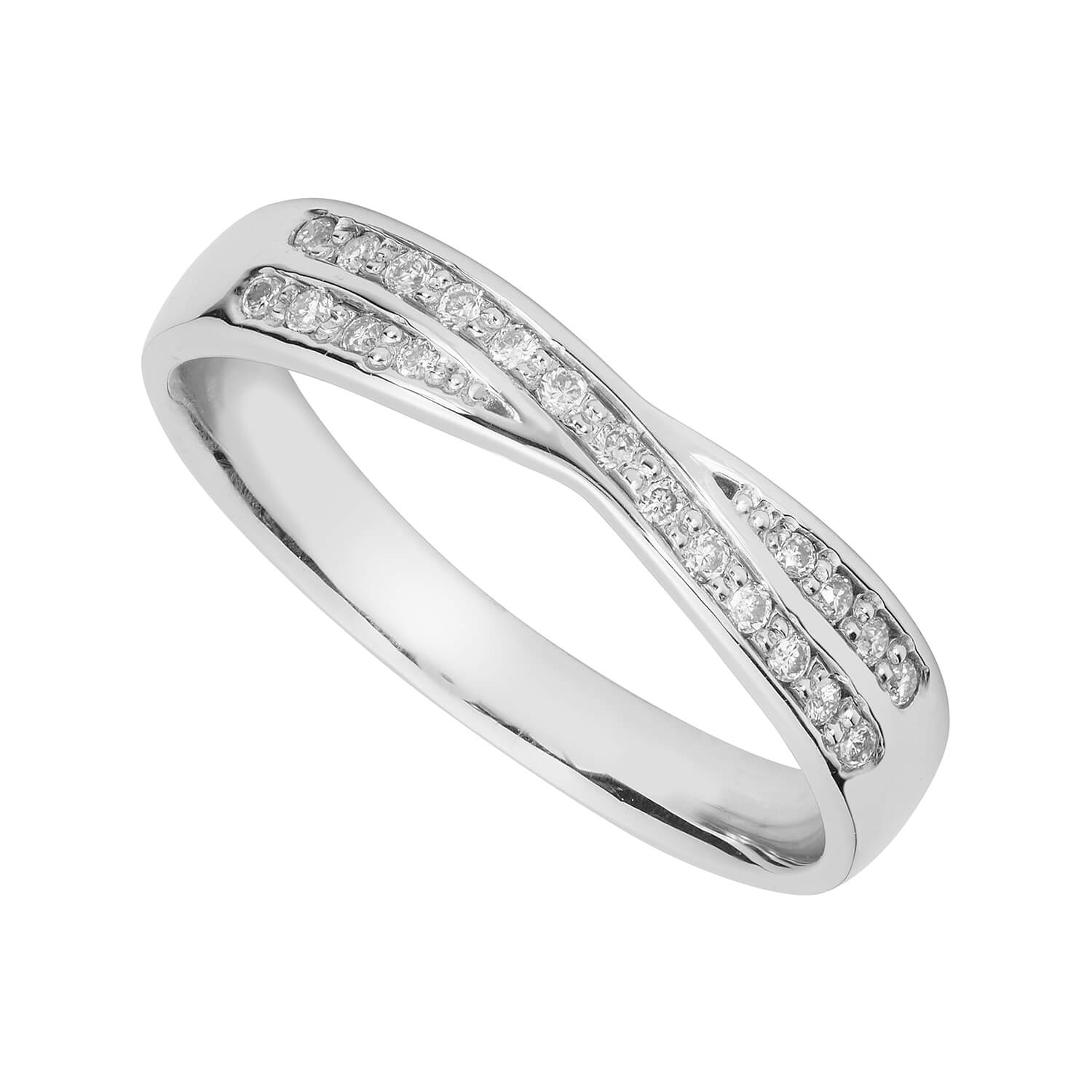 Ladies' 9ct white gold crossover wedding ring