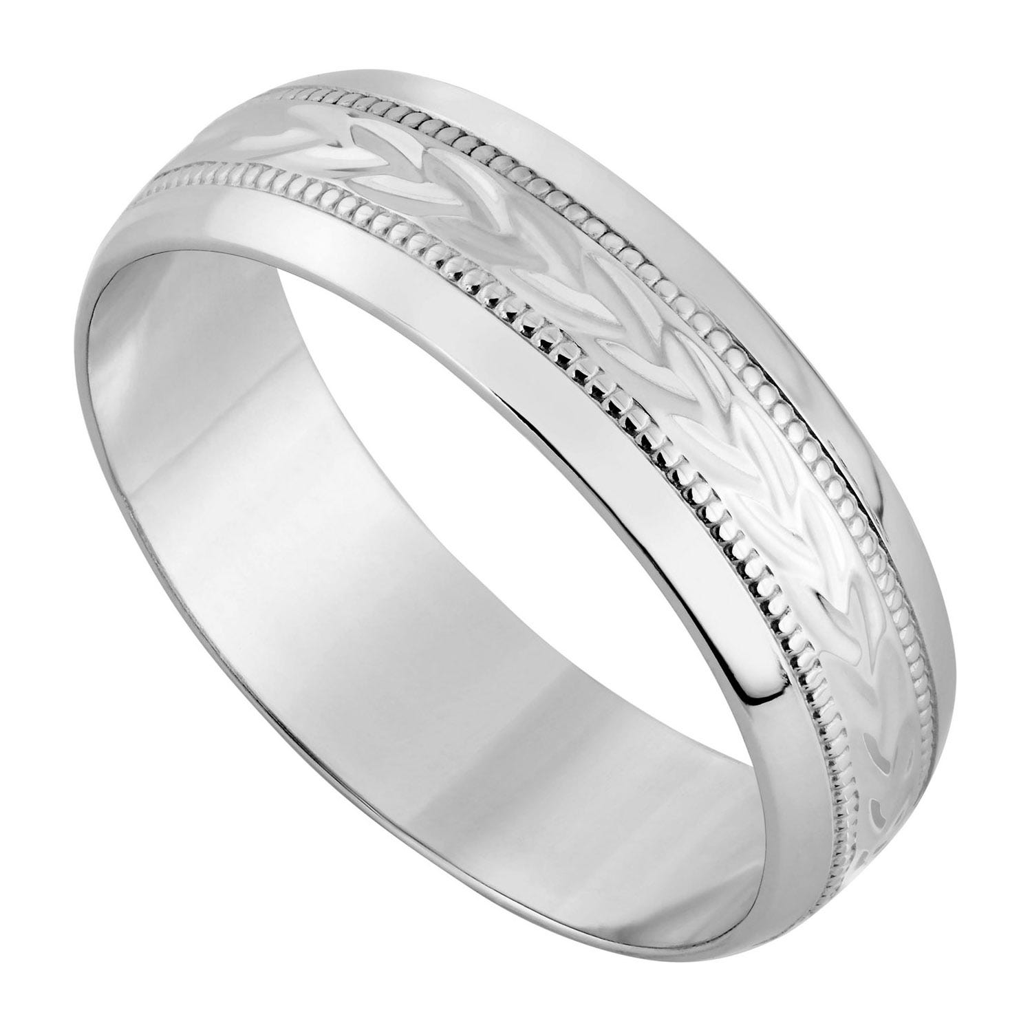 9ct white gold 5mm D-shaped wedding ring
