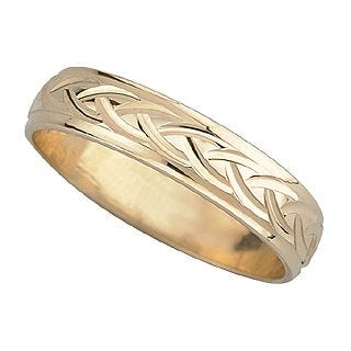 9ct gold 4mm patterned wedding ring