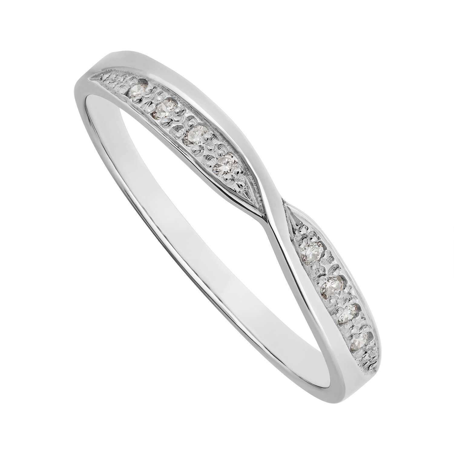 Ladies' 18ct white gold diamond shaped crossover wedding ring