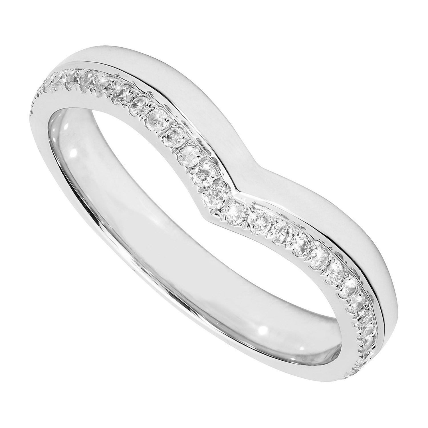 Ladies' platinum 0.15 carat diamond wishbone wedding ring