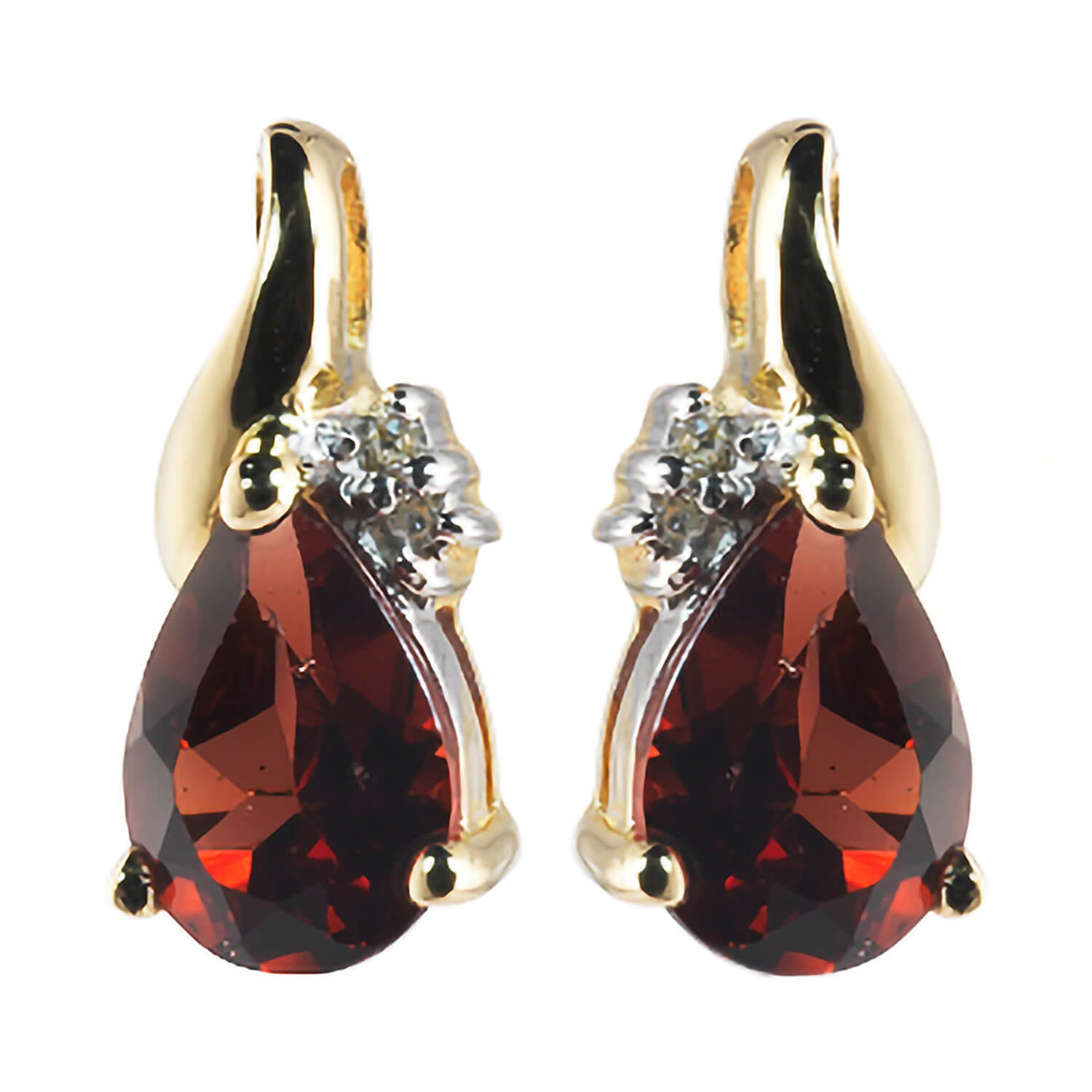 9ct Yellow Gold Garnet & Diamond Teardrop Stud Earrings