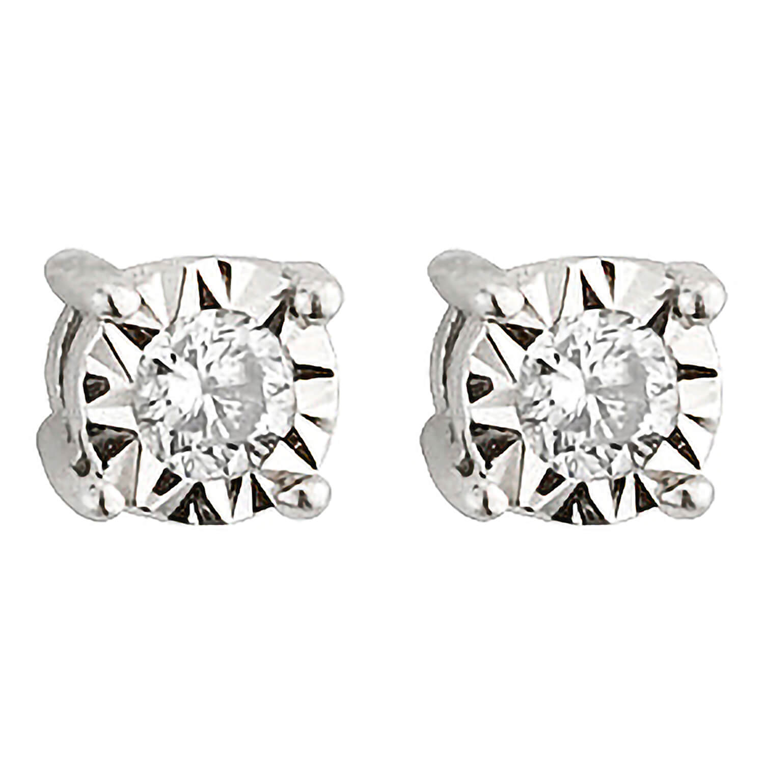 9ct white gold 0.12 carat diamond solitaire stud earrings