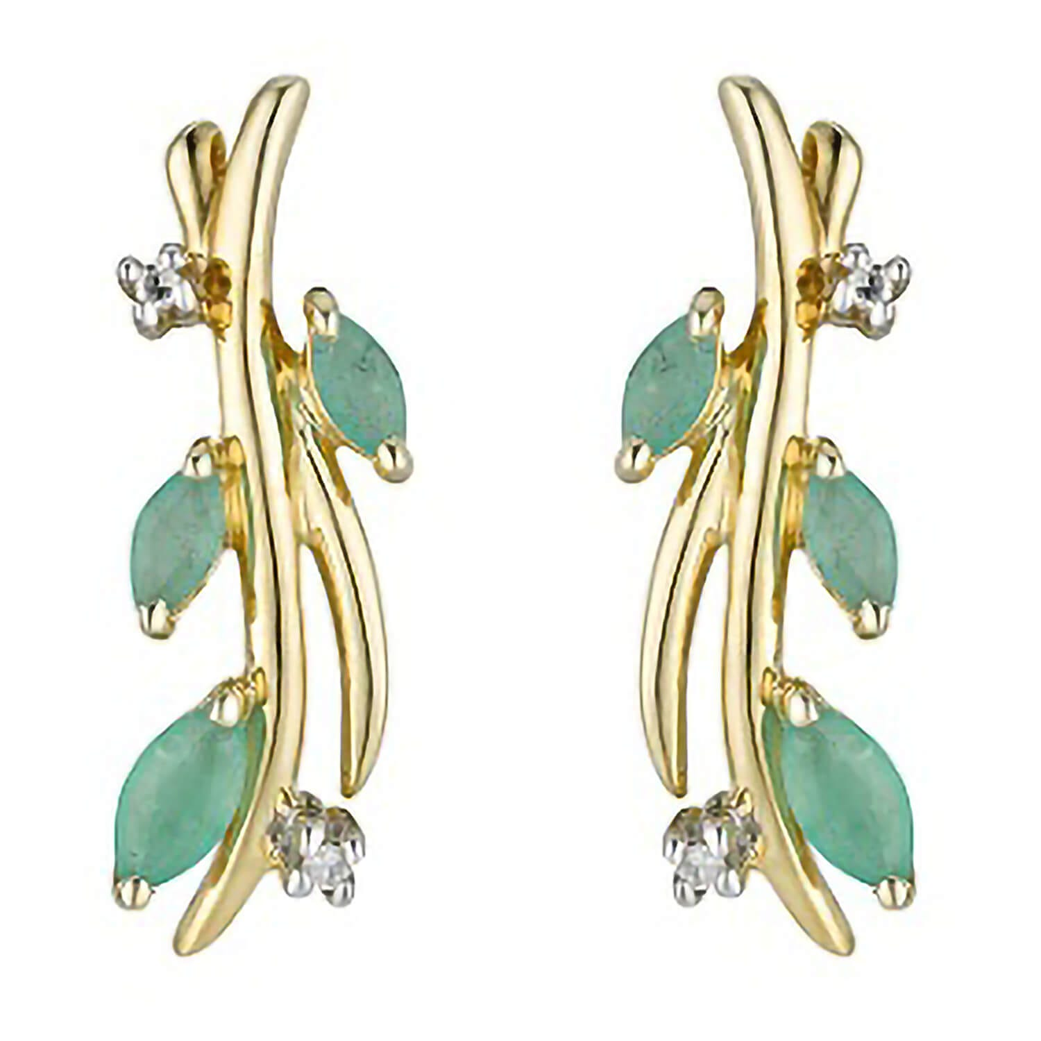 9ct gold emerald and diamond earrings