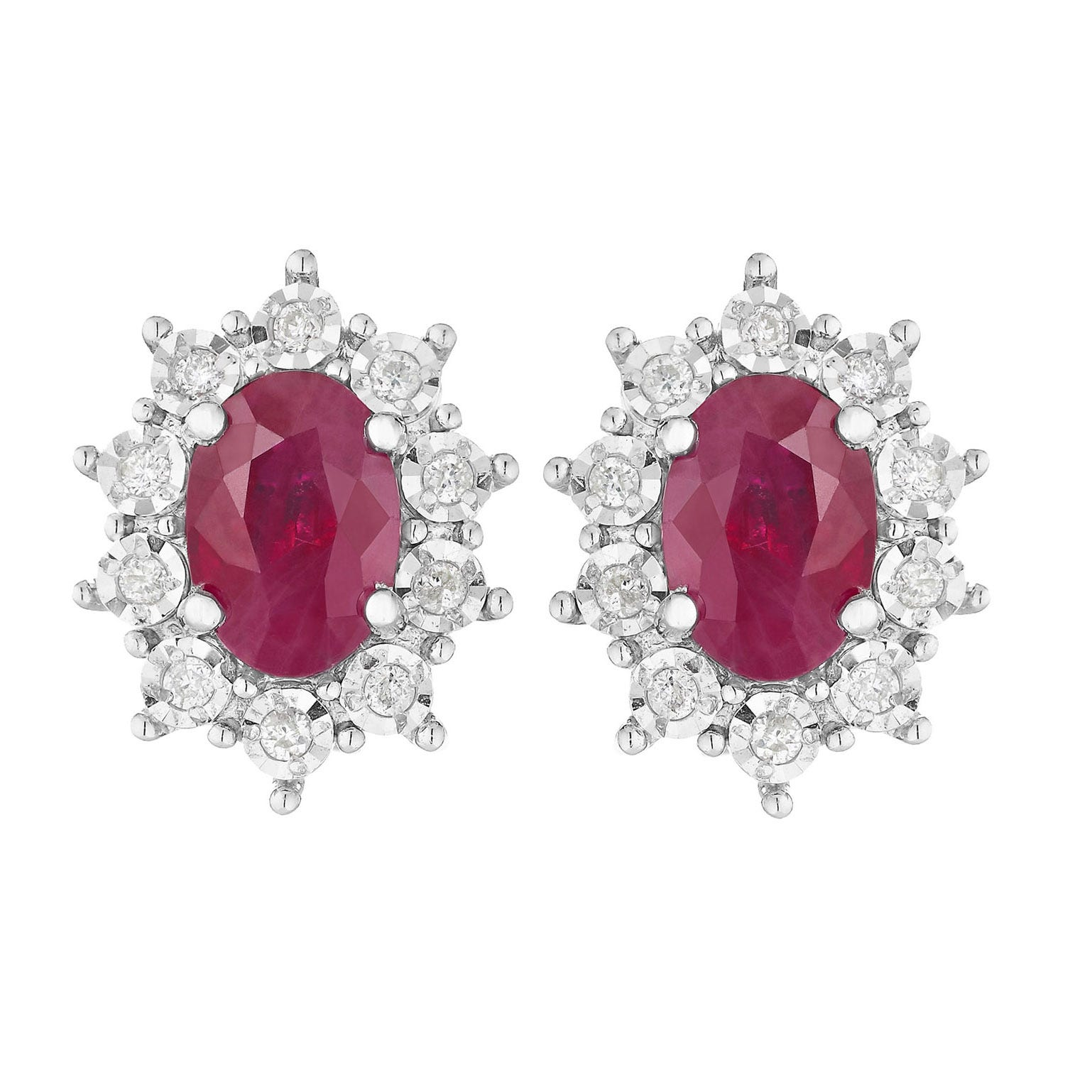 9ct white gold ruby and diamond oval stud earrings