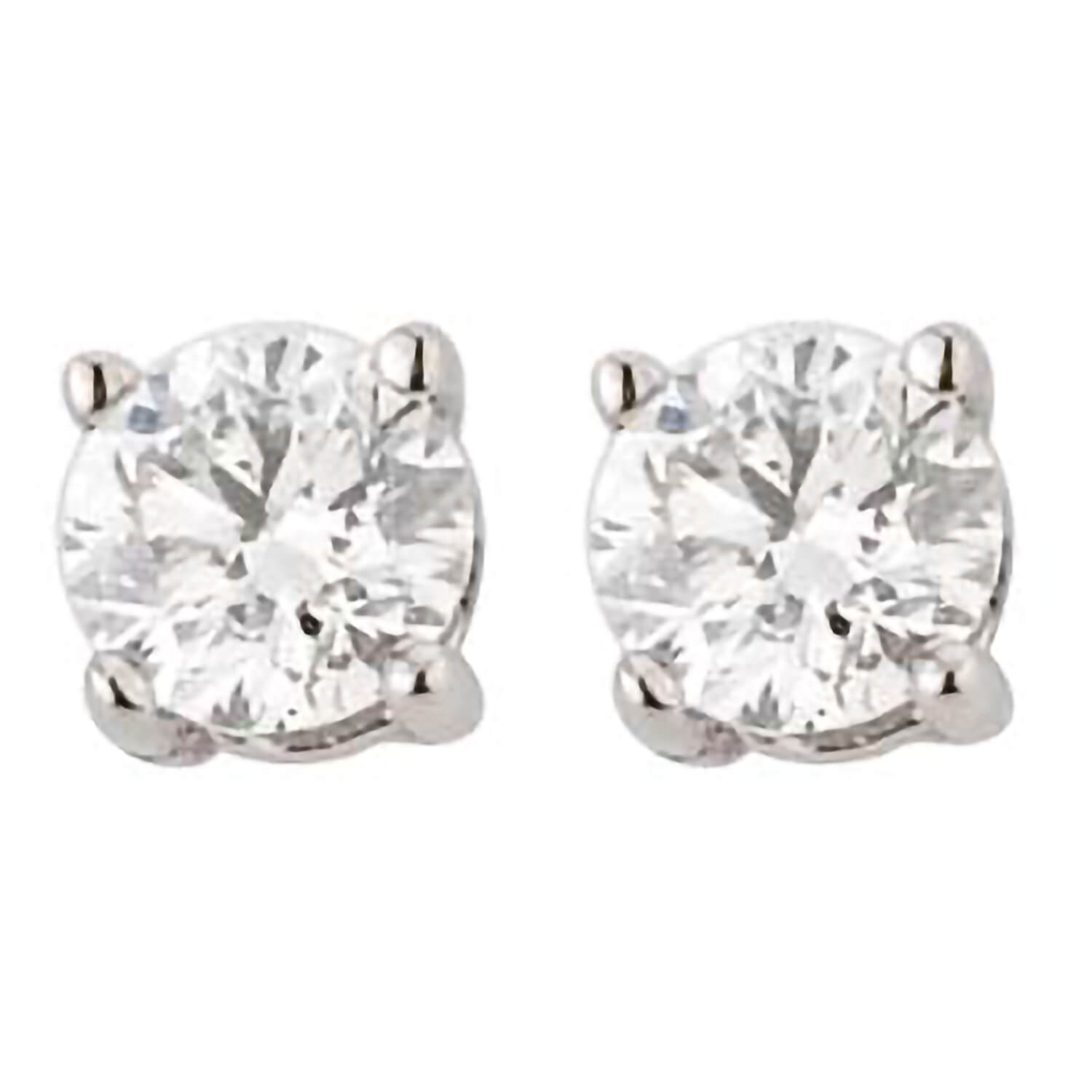 18ct white gold 0.90 carat diamond solitaire stud earrings