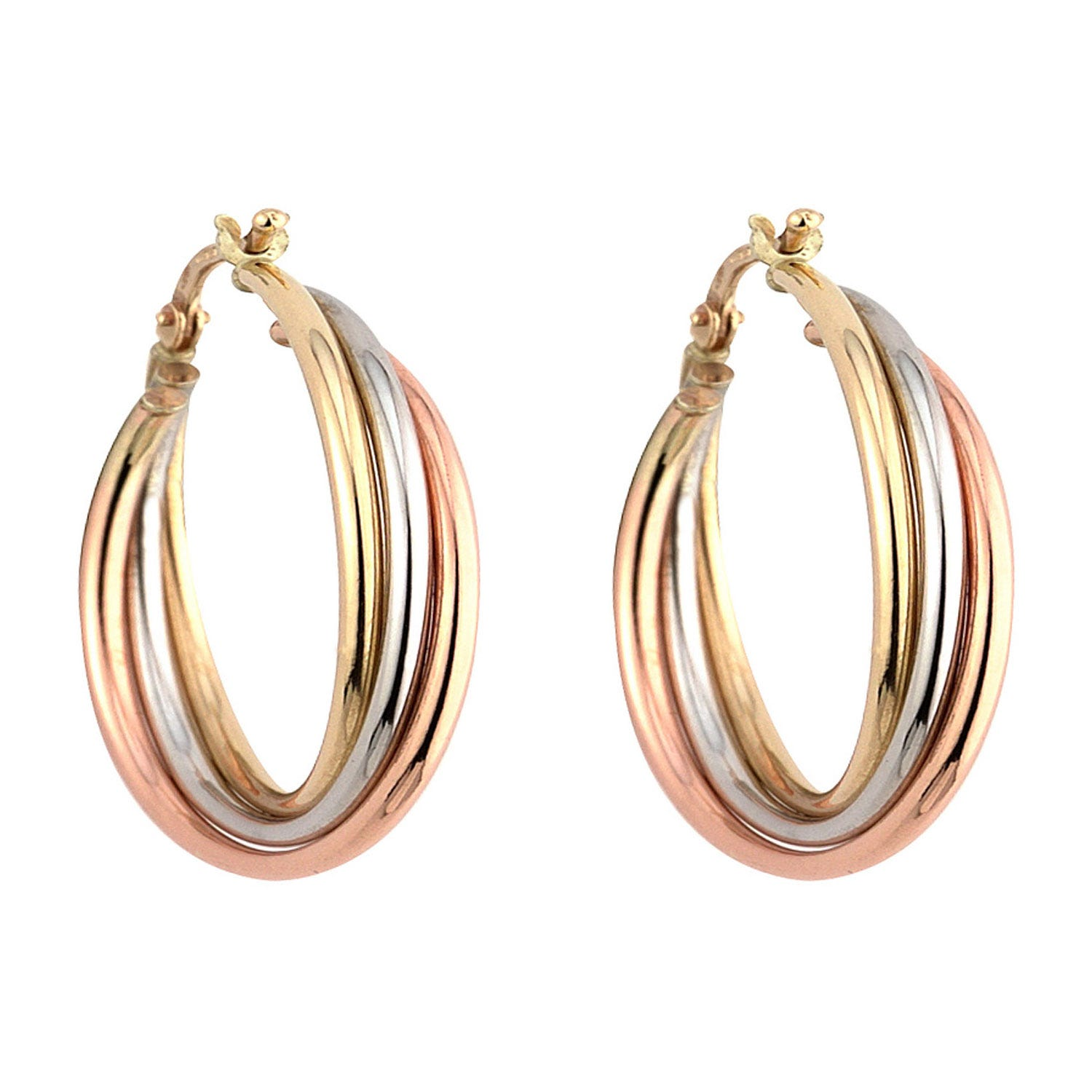 9ct three colour gold small Russian hoop earrings