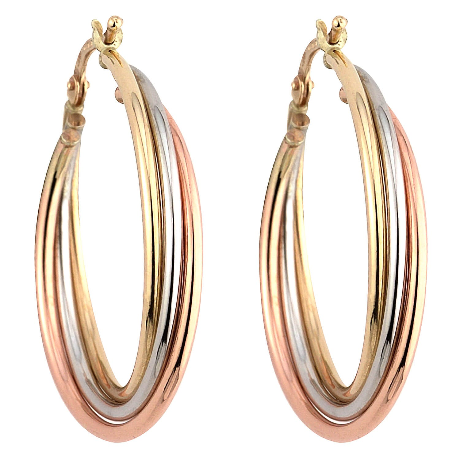 Details about  /Three Tone 9CT Gold Russian Wedding Hoop Earrings