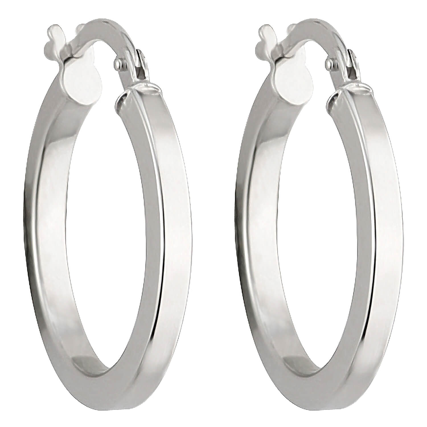 9ct white gold small square edge hoop earrings