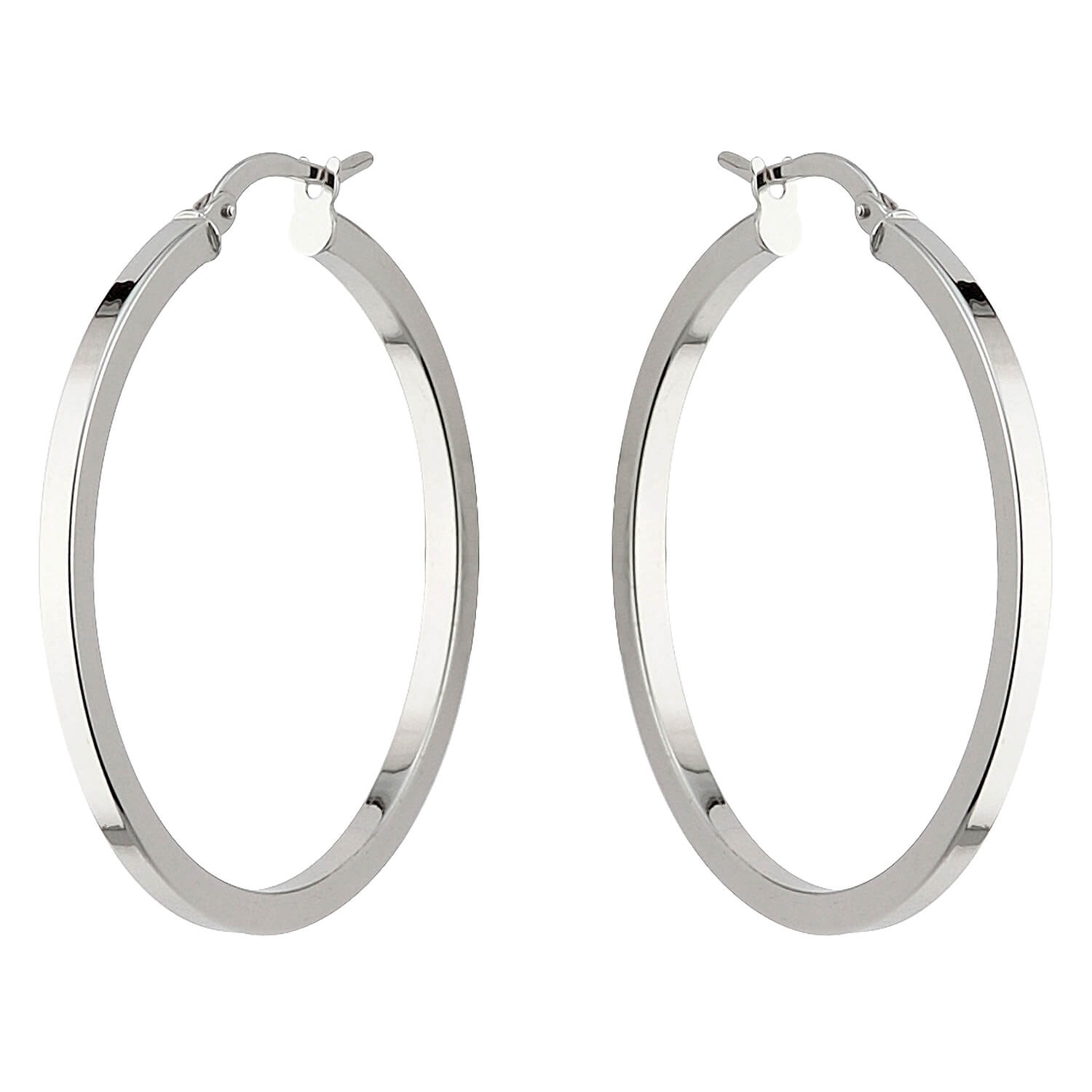 9ct white gold large square edge hoop earrings