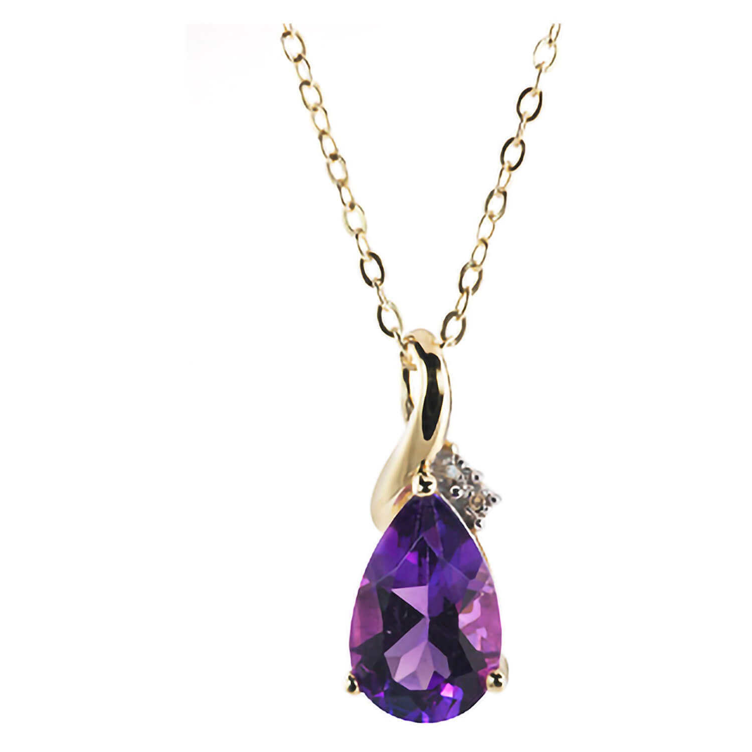 9ct gold amethyst and diamond teardrop pendant