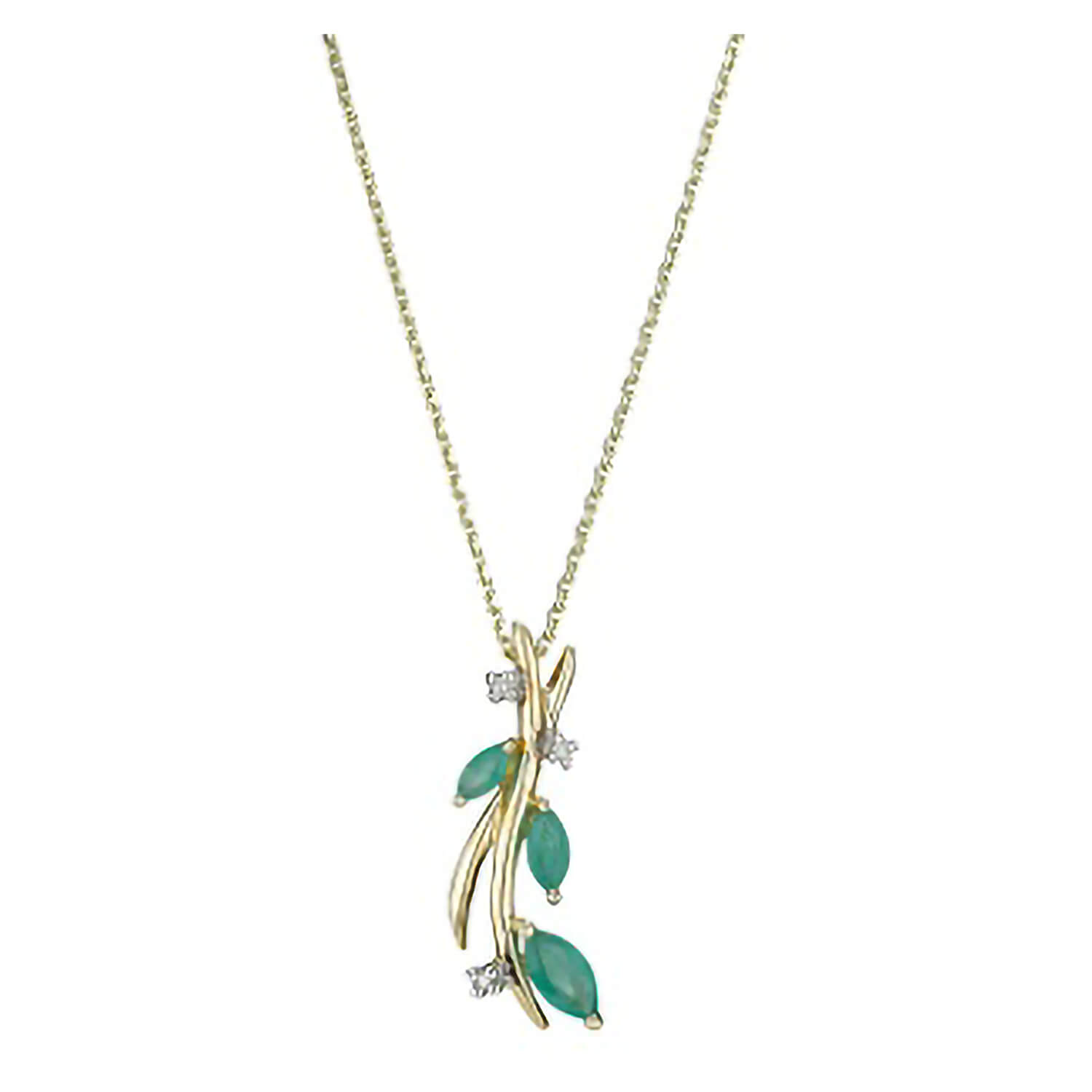 9ct gold marquise emerald and diamond pendant