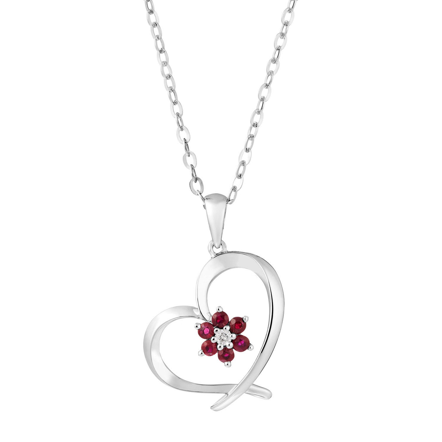 9ct white gold ruby and diamond heart pendant