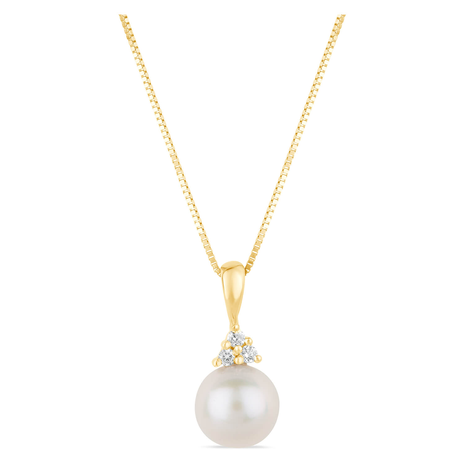 9ct Yellow Gold Diamond & Pearl Pendant