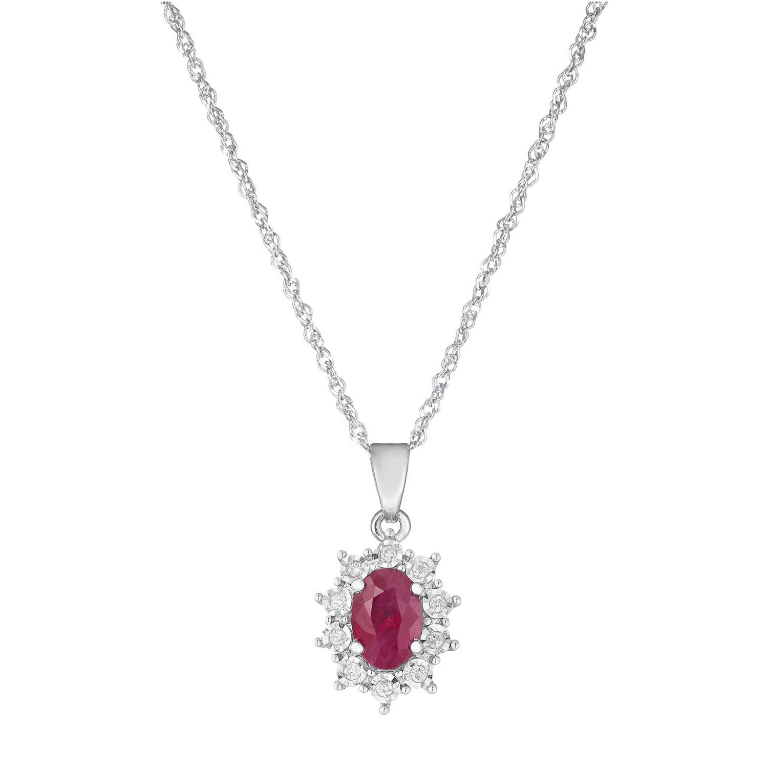9ct white gold oval ruby and diamond pendant