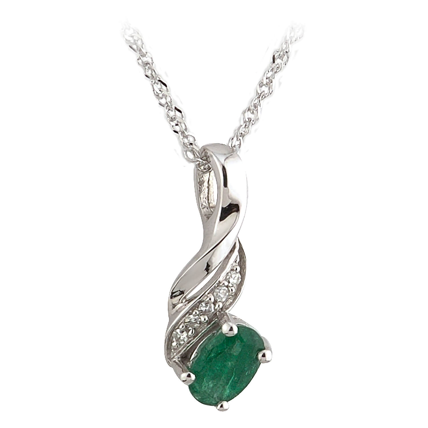 9ct white gold oval emerald and diamond-set pendant