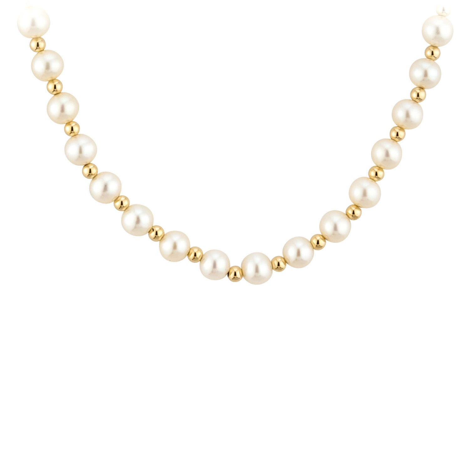 9ct gold freshwater cultured pearl and bead necklace