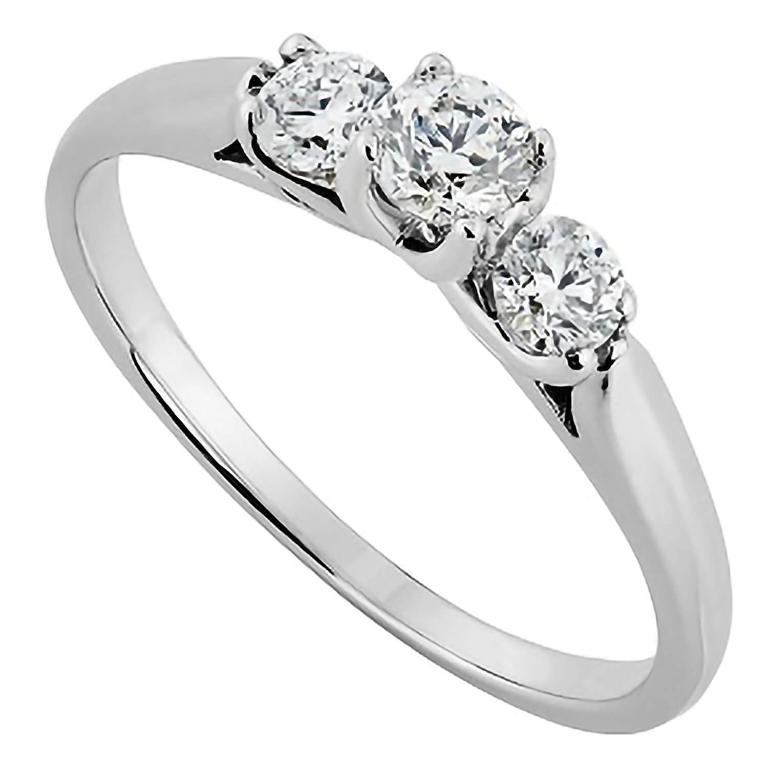 18ct white gold 0.50 carat diamond three stone ring