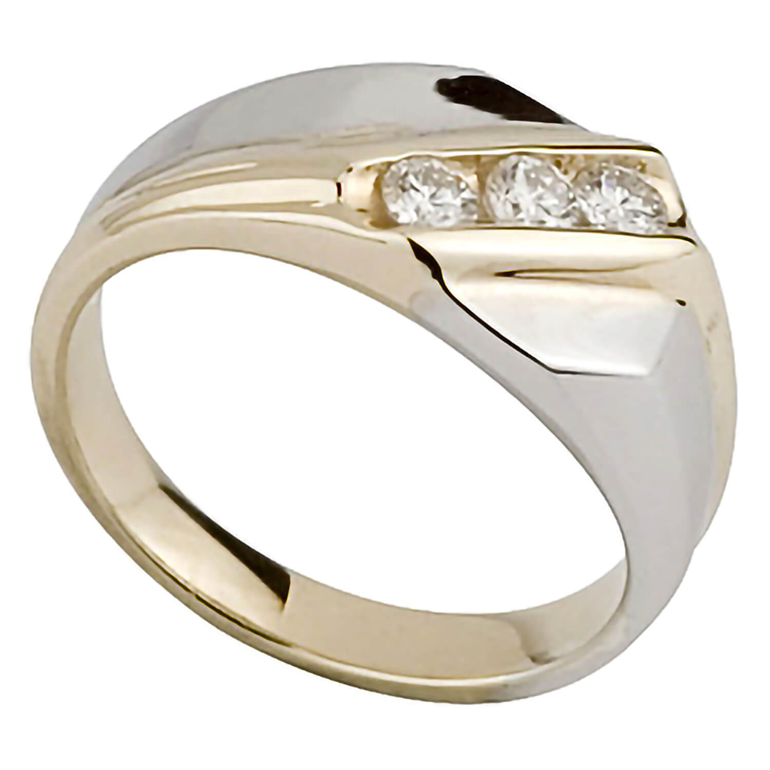 Men's 9ct two colour gold 0.25 carat diamond ring