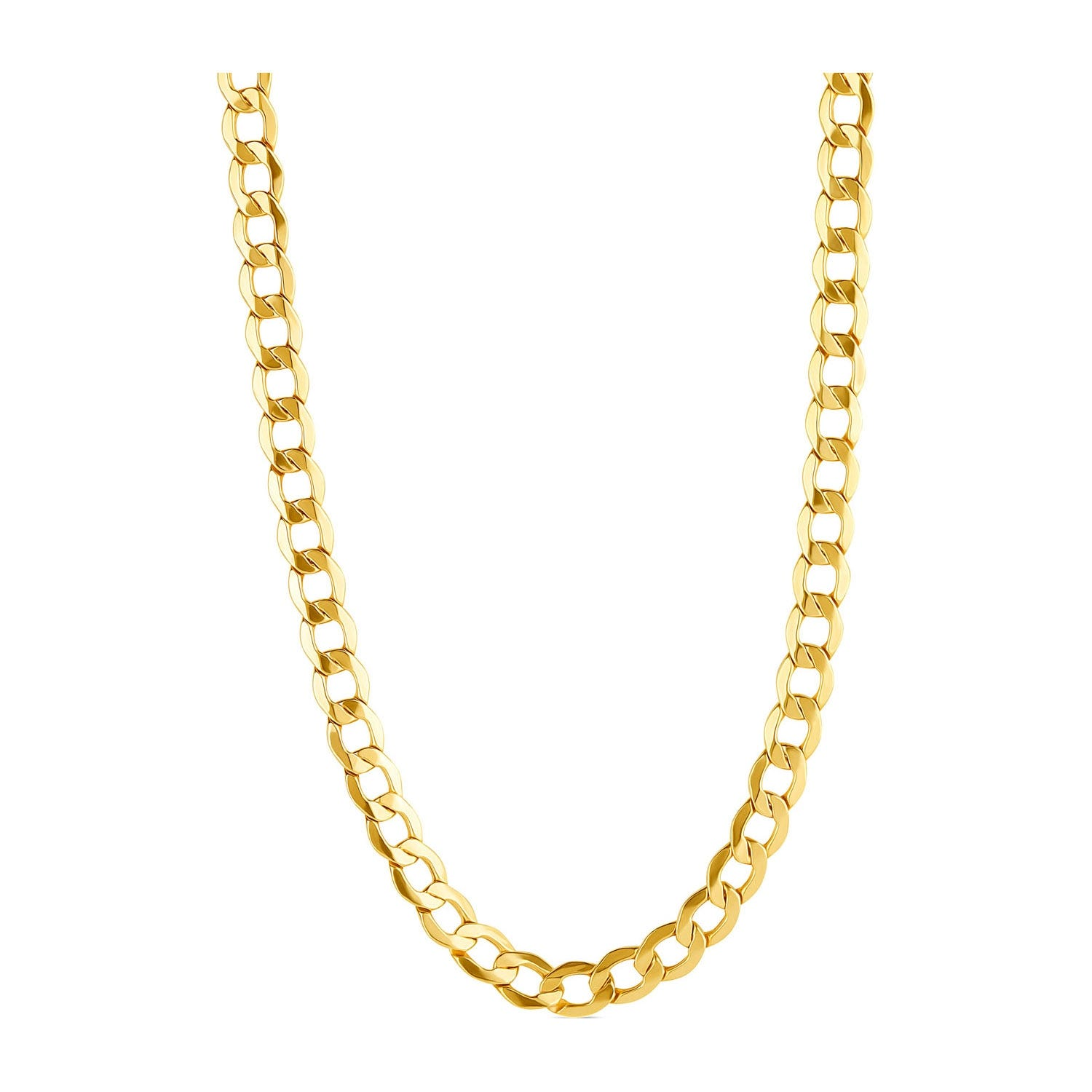 9ct Yellow Gold Flat Curb 51cm Men's Necklace