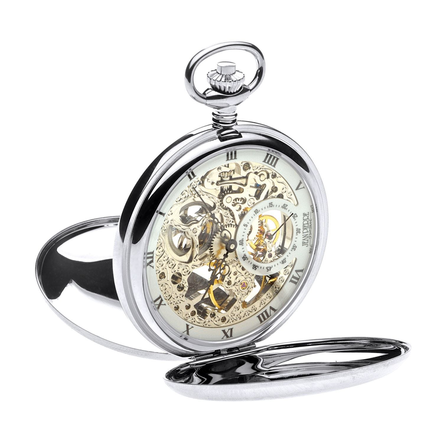 Jean Pierre chrome-plated mechanical double Hunter pocket watch
