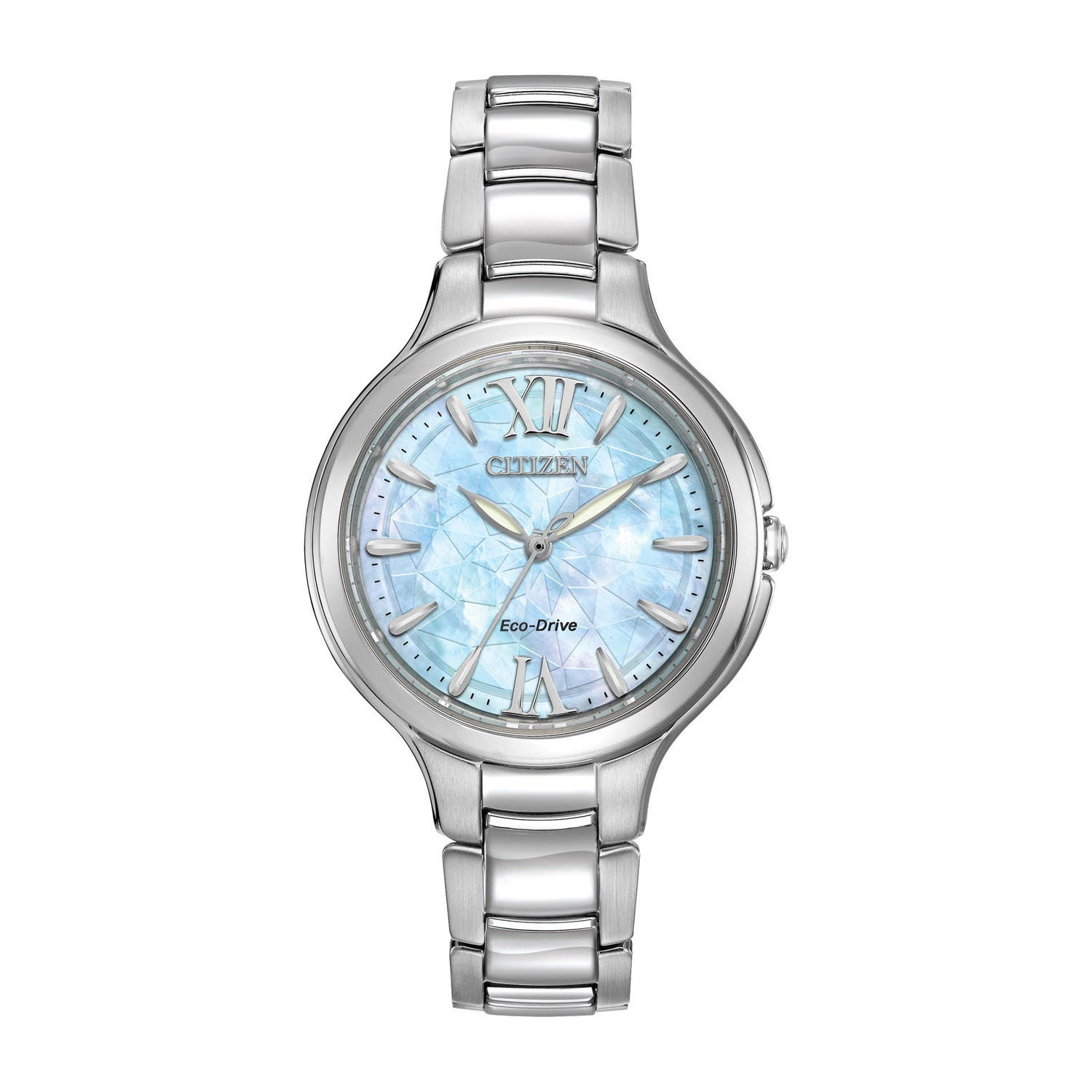 Citizen Eco-Drive Silhouette Crystal ladies' mother of pearl dial Stainless Steel bracelet watch