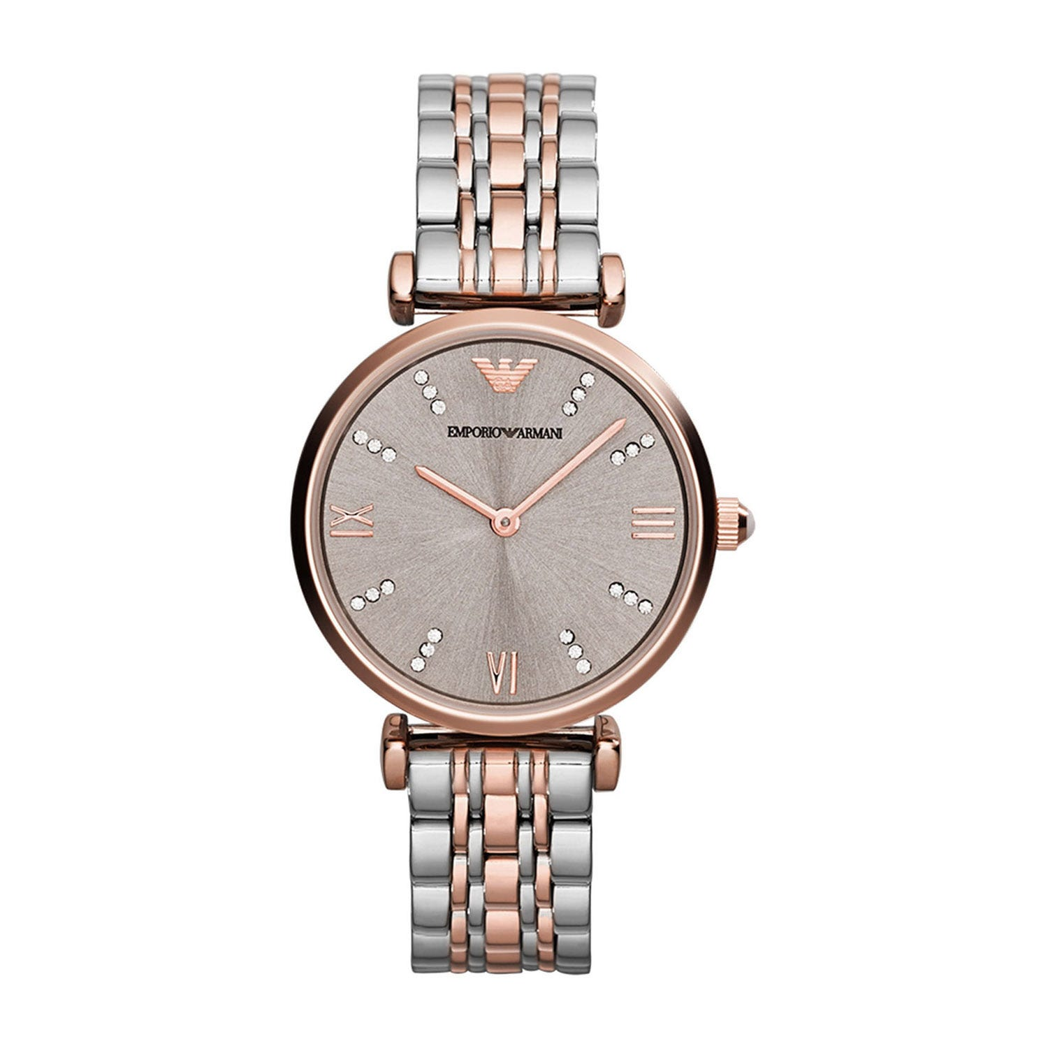 Emporio Armani rose gold-plated two colour bracelet watch