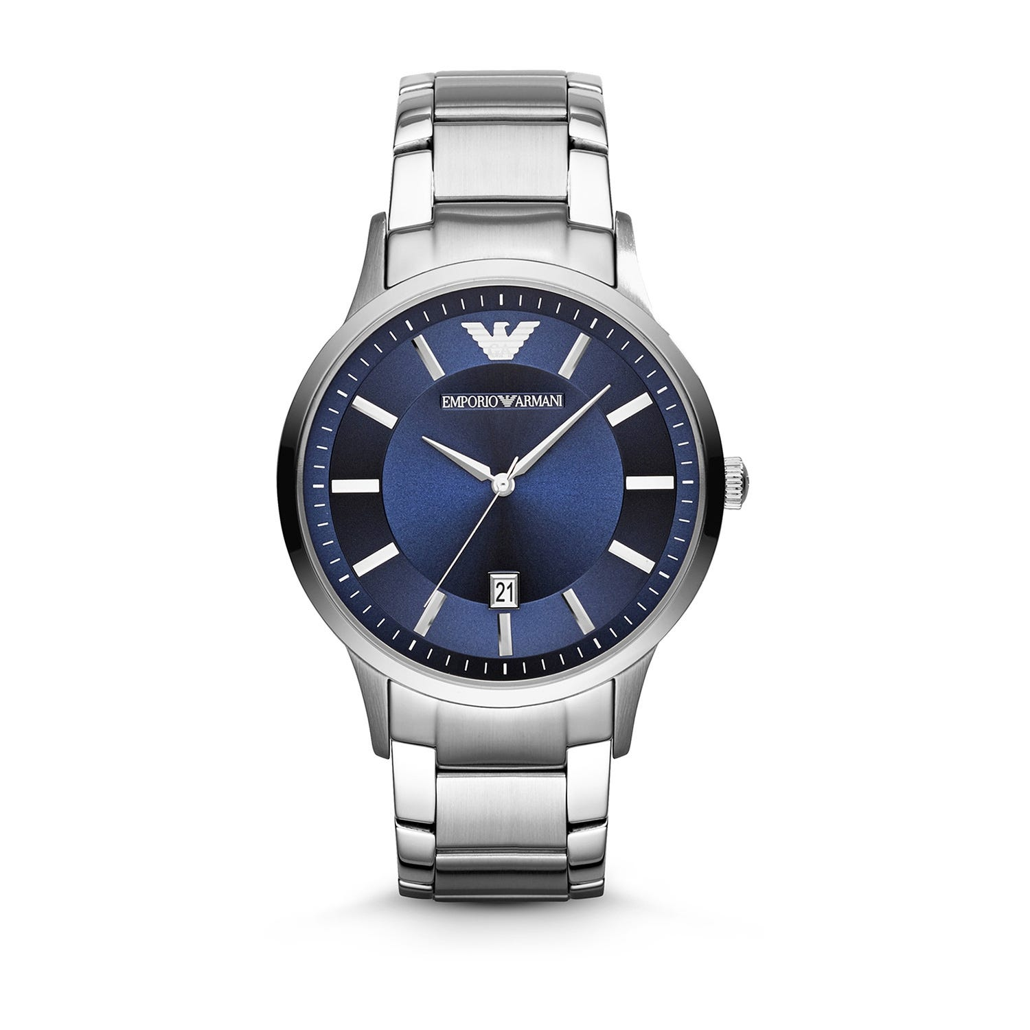 Emporio Armani men's round blue dial stainless steel bracelet watch