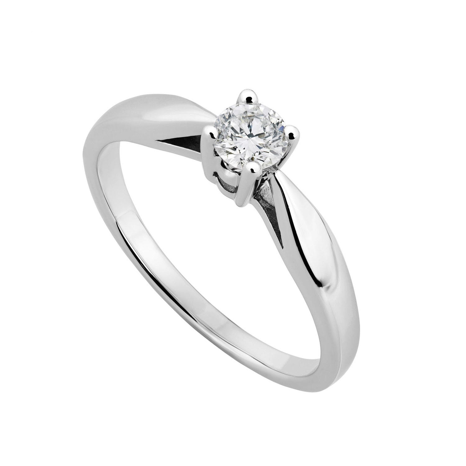 9ct white gold 0.25 carat diamond solitaire engagement ring