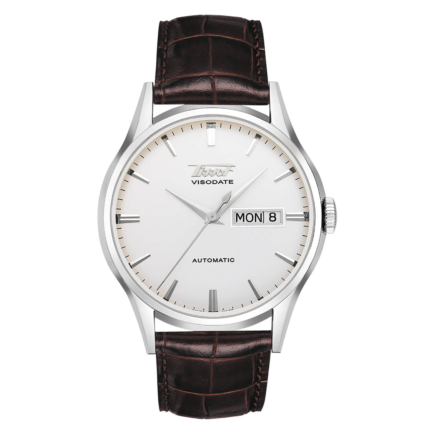 Tissot Visodate men's automatic brown leather strap watch
