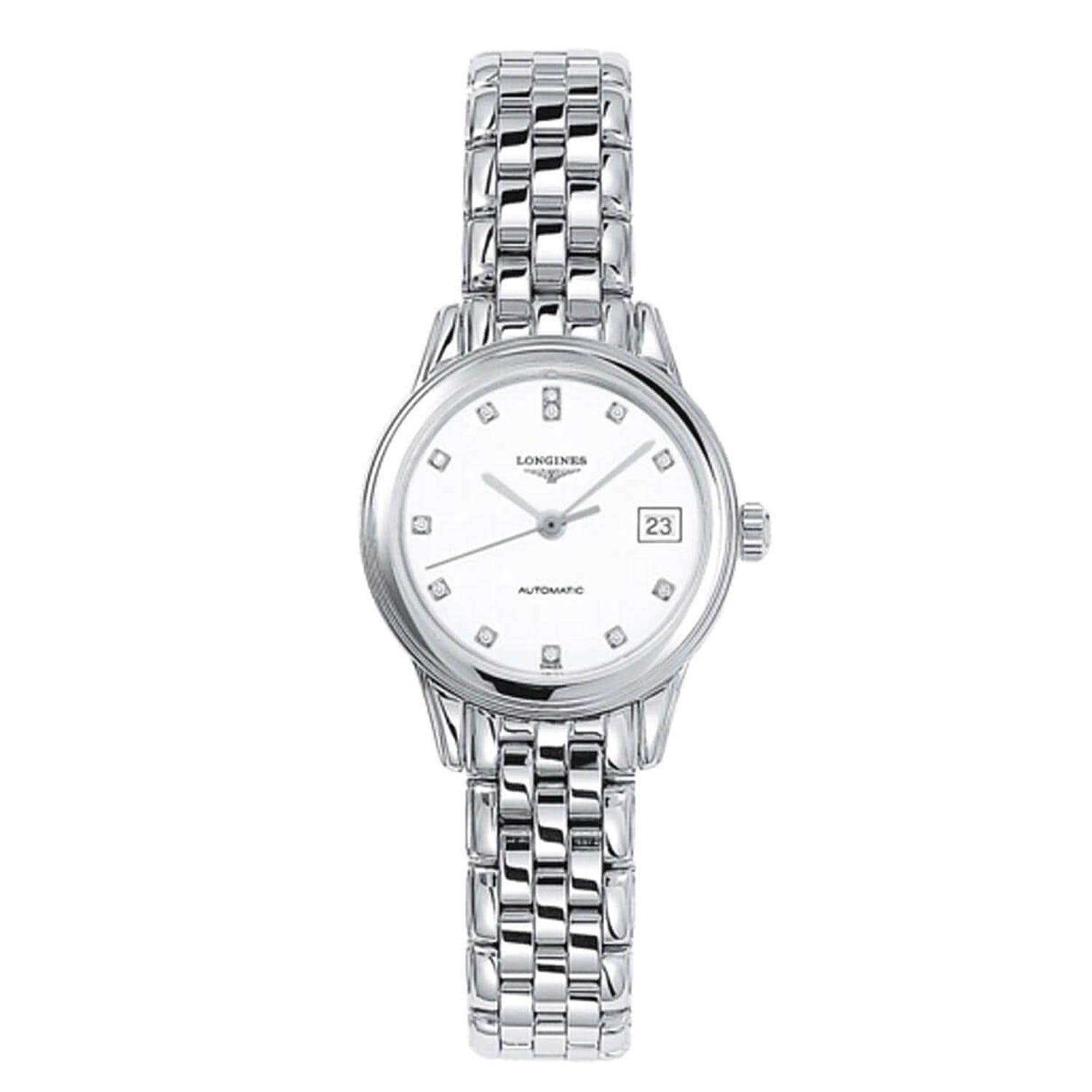 Longines Flagship ladies' stainless steel diamond-set automatic watch