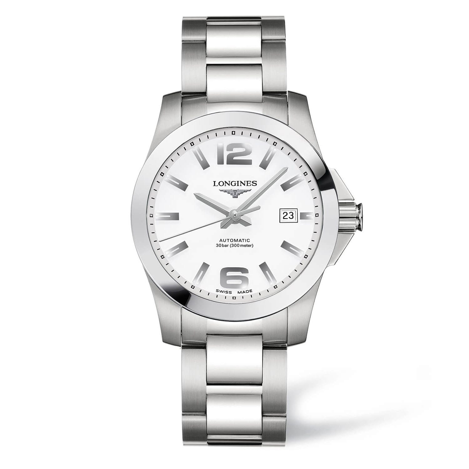 Longines Conquest men's automatic white dial stainless steel bracelet watch