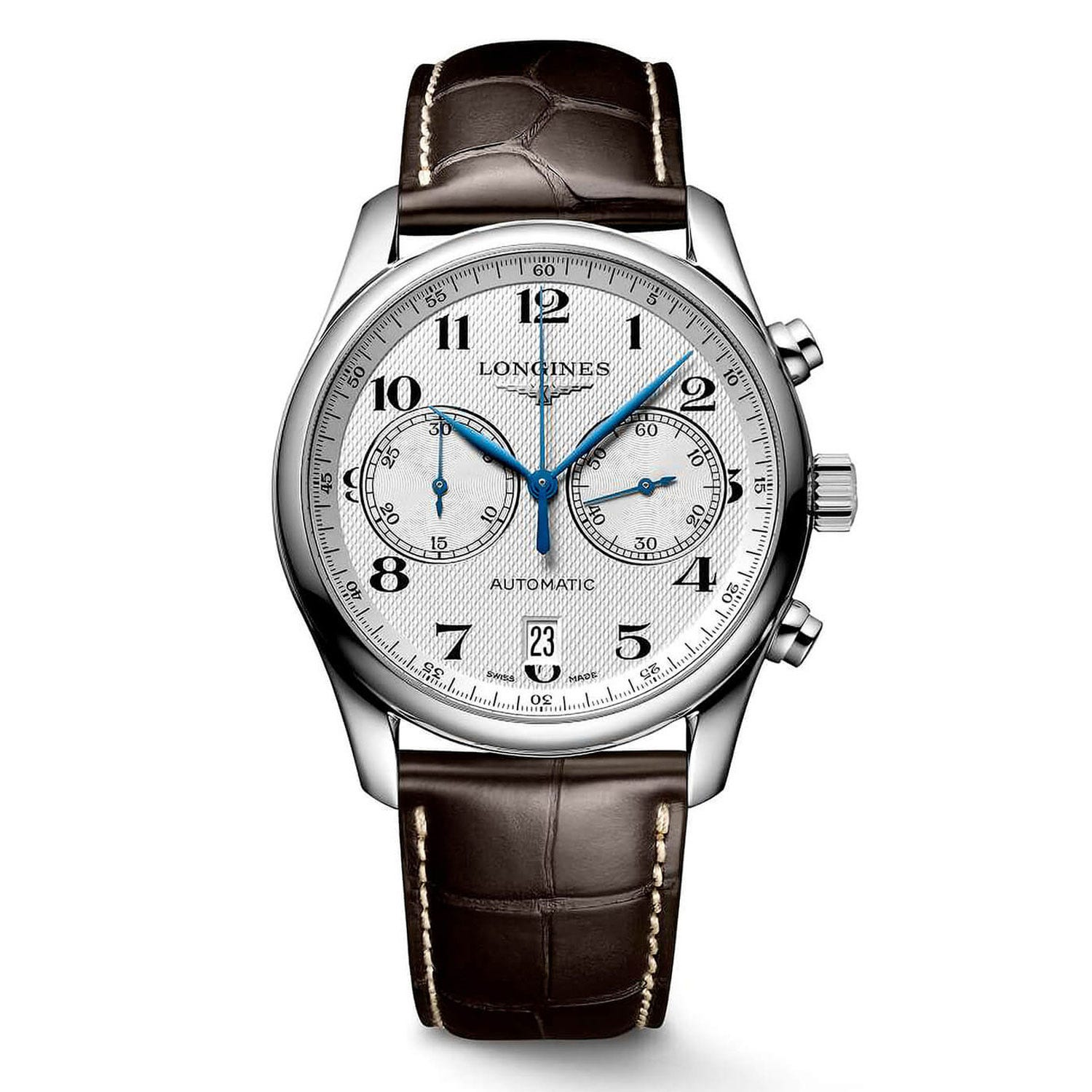 Longines Master Collection men's automatic chronograph brown strap watch