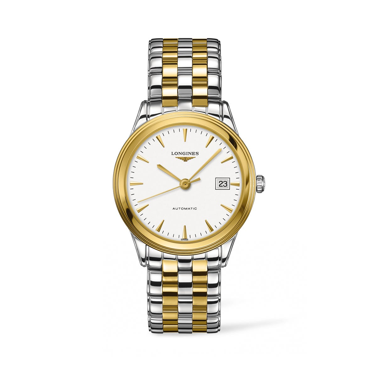 Longines Flagship automatic men's white dial steel bracelet watch