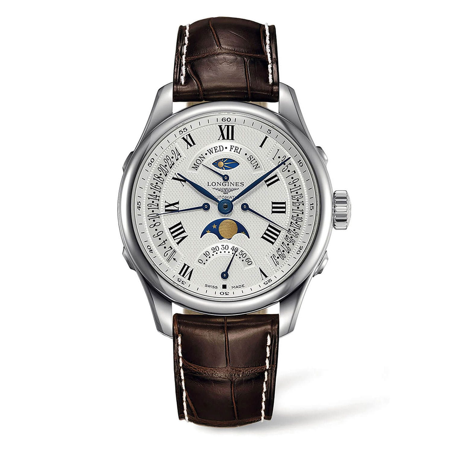 Longines Master Collection automatic chronograph men's brown leather strap moon phase watch