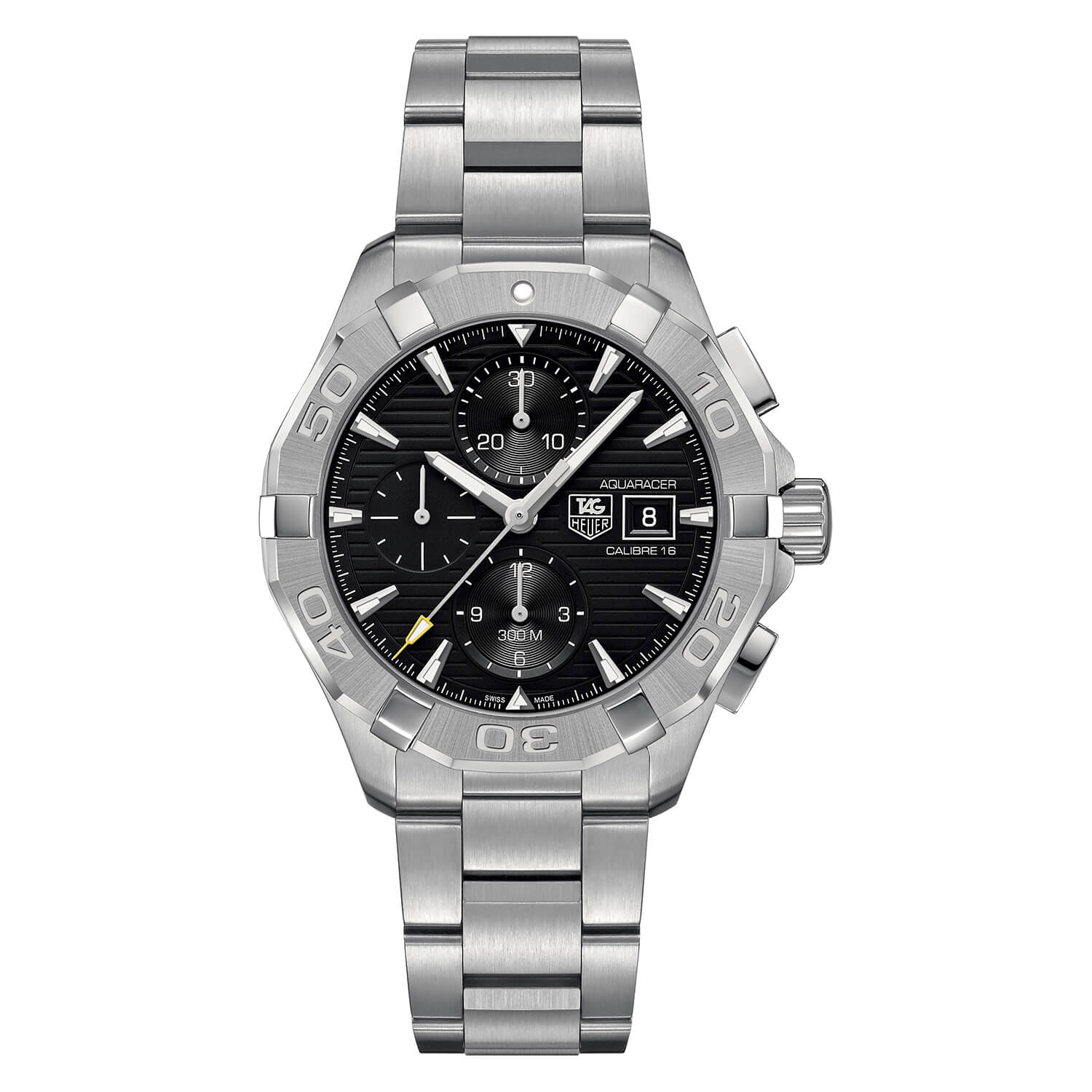TAG Heuer Aquaracer automatic chronograph men's black dial stainless steel bracelet watch
